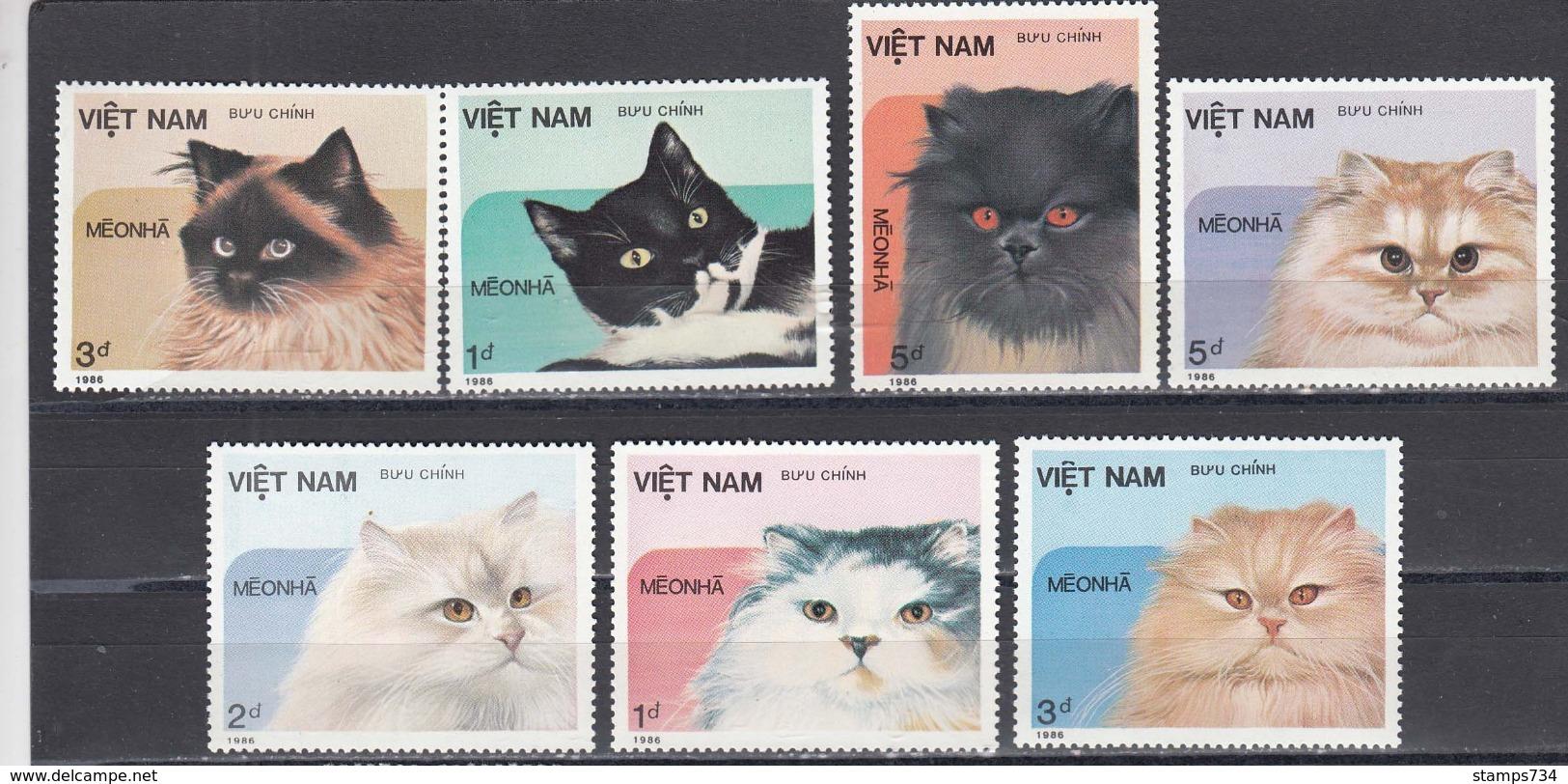 Vietnam 1986 - Cats, Mi-Nr. 1684/90, Dent., MNH** - Vietnam