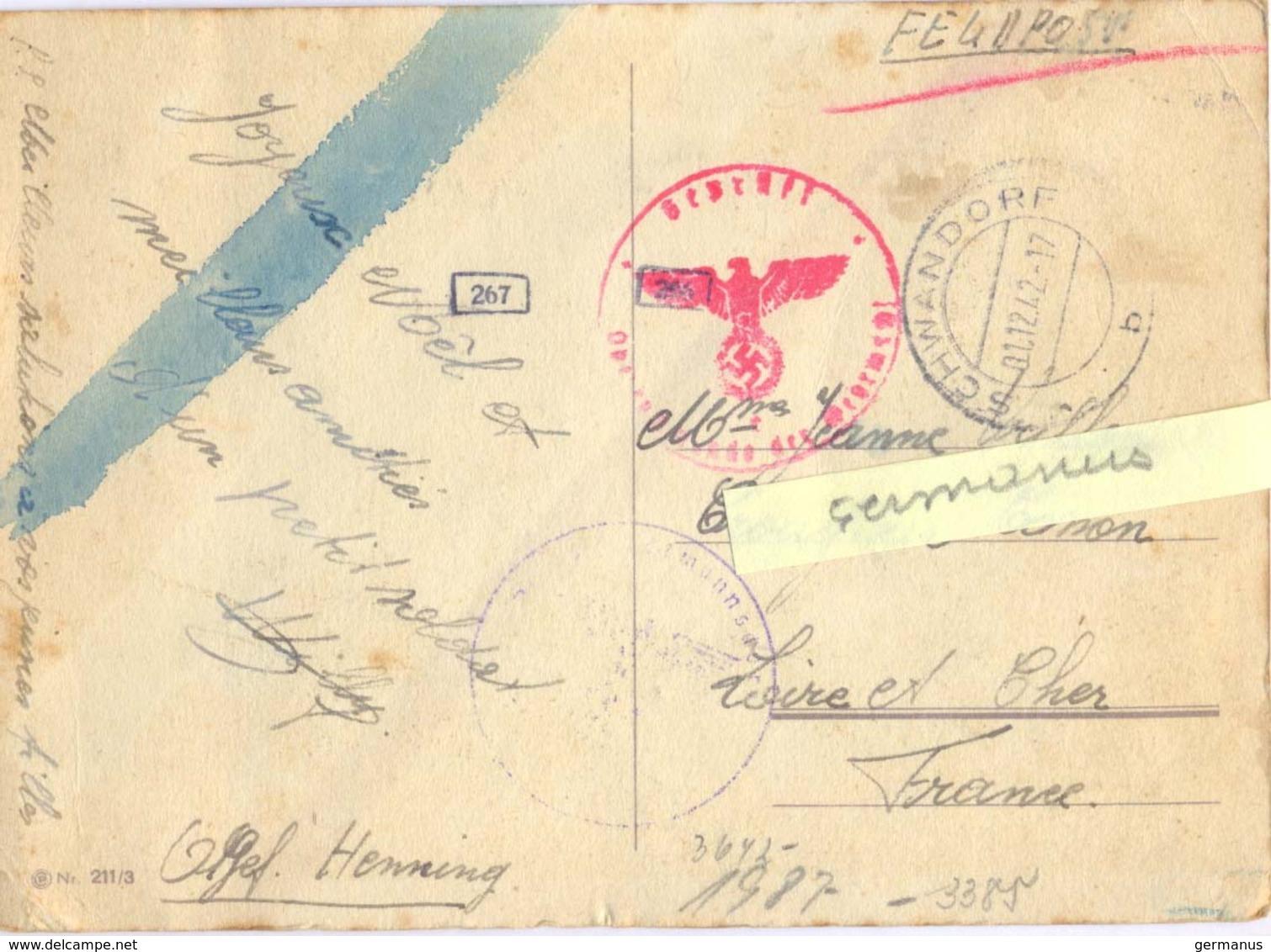 """GUERRE 39-45  CARTE """"D'UN PETIT SOLDAT"""" PRISONNIER ALLEMAGNE TàD SCHWANDORF Du 01.12.42 + CACHETS CENSURE - Guerra Del 1939-45"""