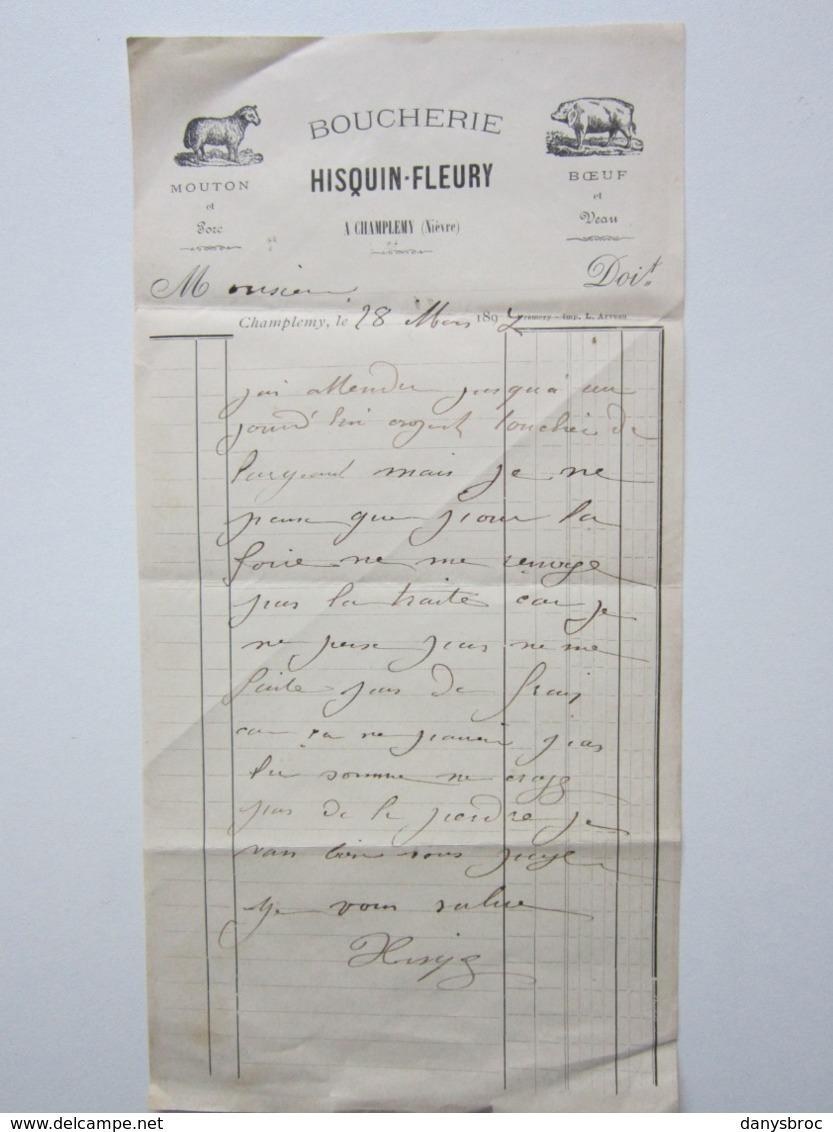 BOUCHERIE - HISQUIN-FLEURY à CHAMPLEMY (58) Facture à Entête Signée Du 28/03/1897 Mouton, Porc, Boeuf, Veau - Food