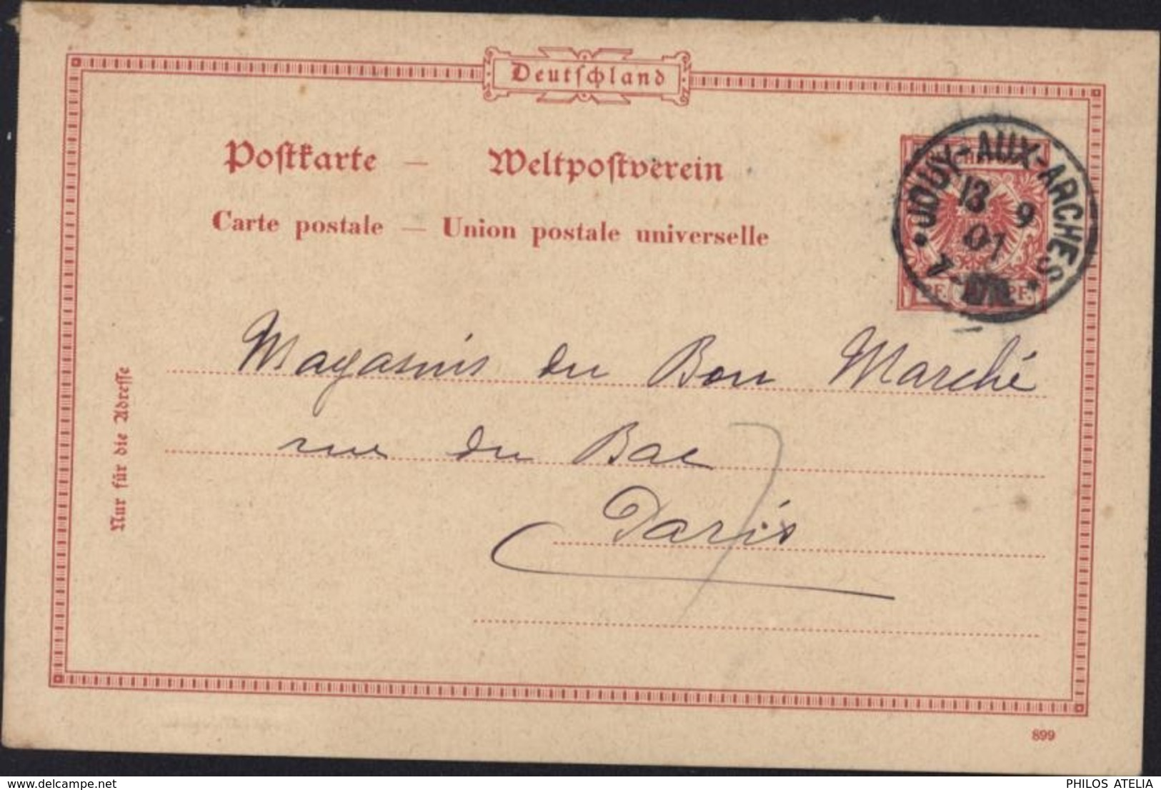 Entier Reichpost 10 PF Aigle CAD Jouy Aux Arches 13 9 01 Moselle Alsace Lorraine Nom Français CAD Allemand - Allemagne
