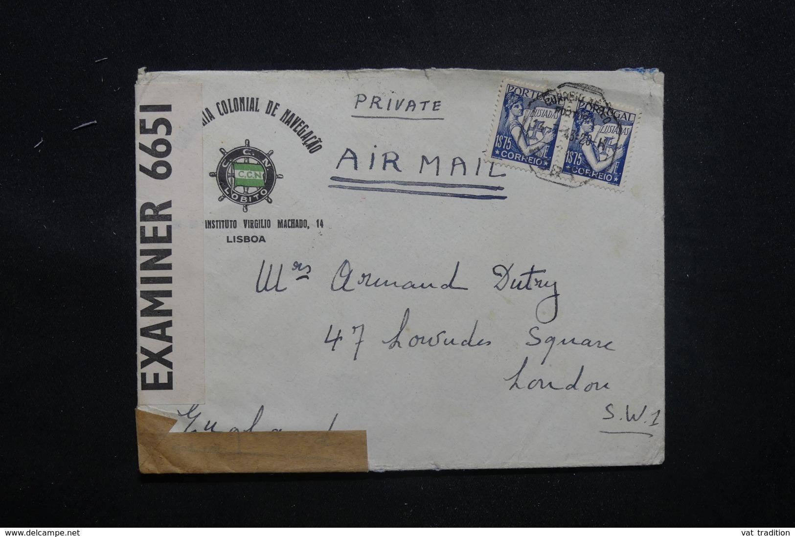 PORTUGAL - Enveloppe Commerciale De Lisbonne Pour Londres En 1943 Avec Contrôle Postal - L 43461 - 1910-... République