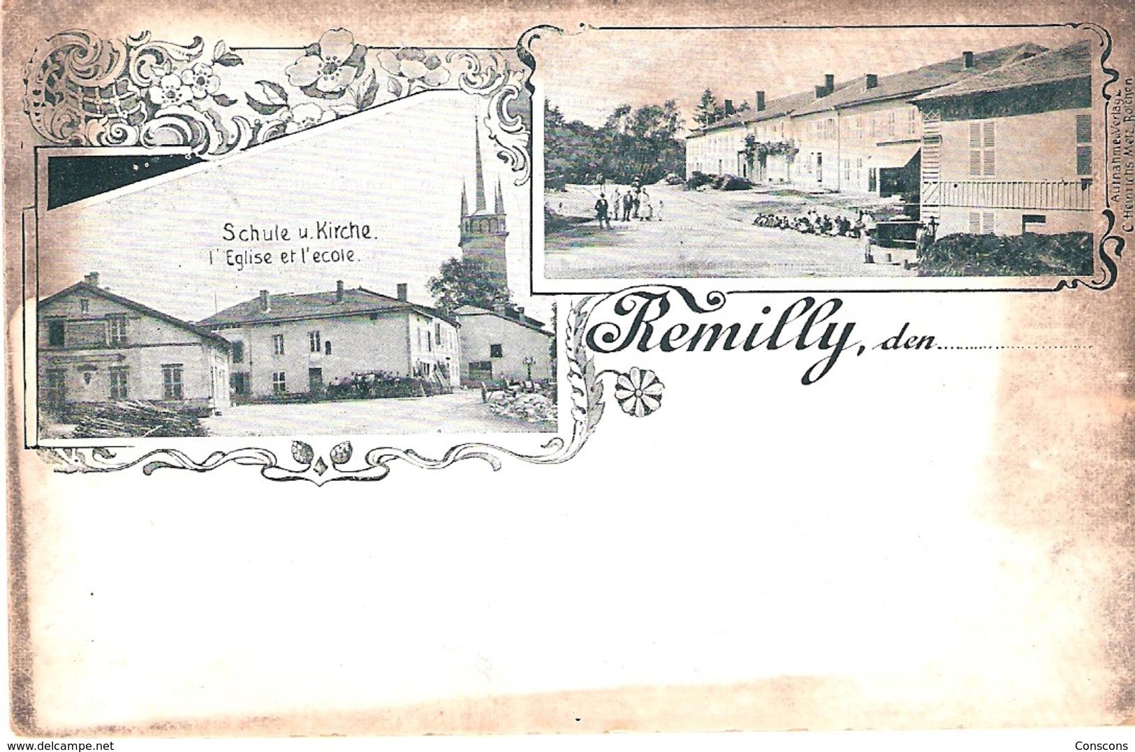 Remilly - Eglise Et Ecole  Schule U. Kirchei - Altri Comuni