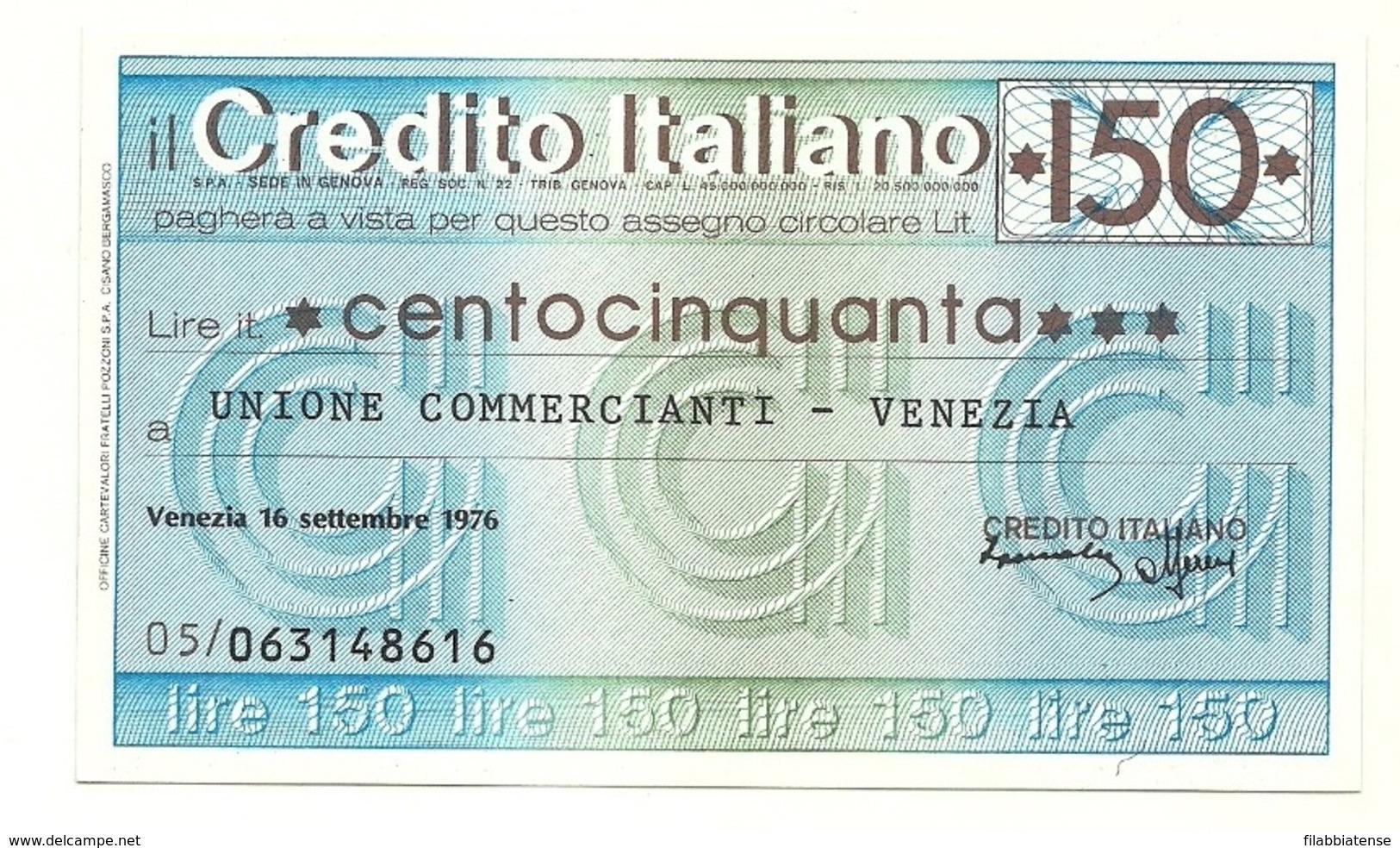 1976 - Italia - Credito Italiano - Unione Commercianti - Venezia - [10] Assegni E Miniassegni