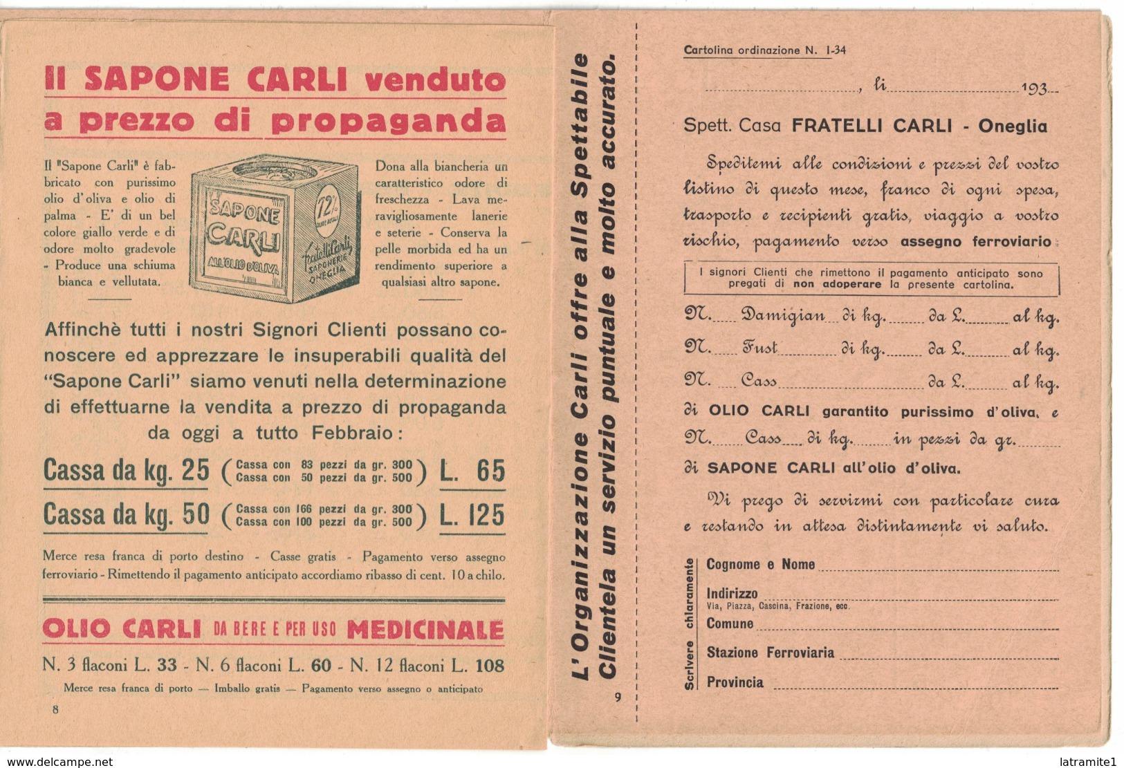 CARTOLINA POSTALE CARTE POSTALE OLIO DI OLIVA  OLIO CARLI Garantito Purissimo D'oliva - Pubblicitari