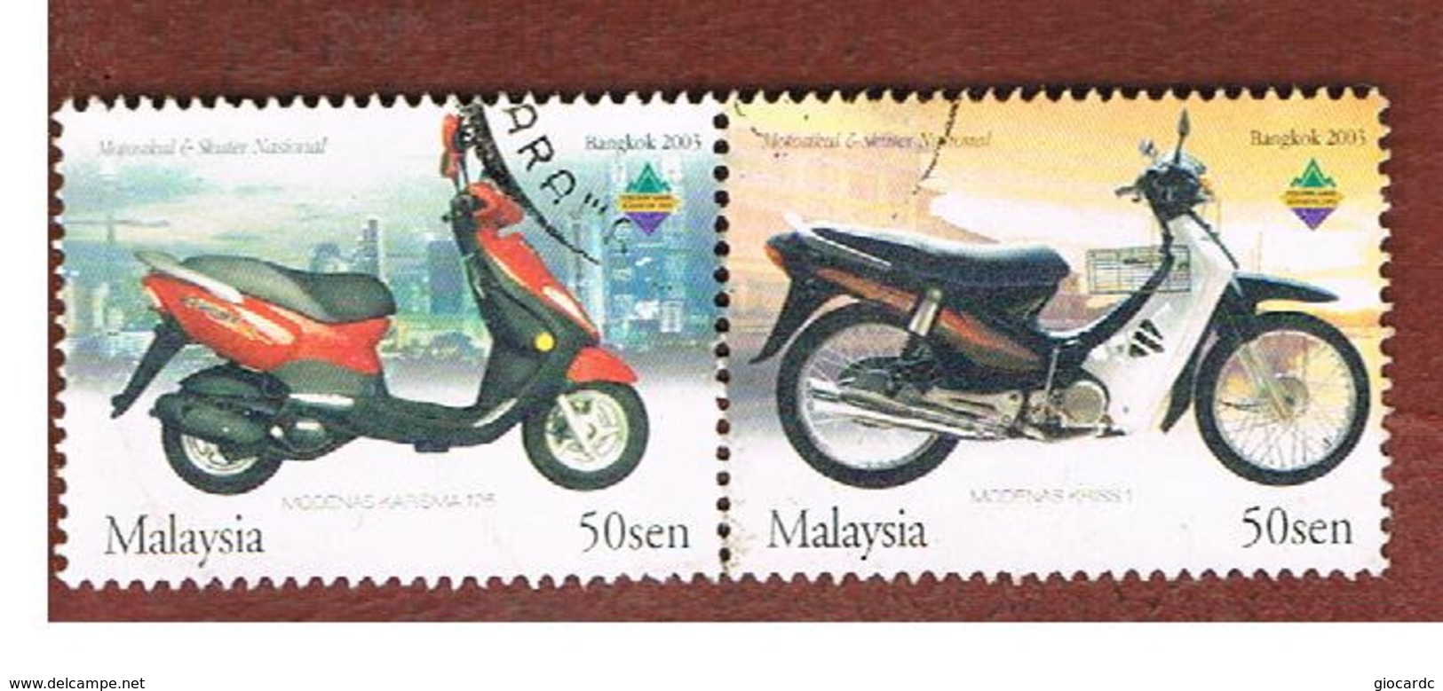 MALESIA (MALAYSIA)  -  SG 1168a -   2003 MOTORCYCLES:  (2 DIFFERENT STAMPS SE-TENANT WITH EXN. EMBLEM)  -  USED ° - Malesia (1964-...)