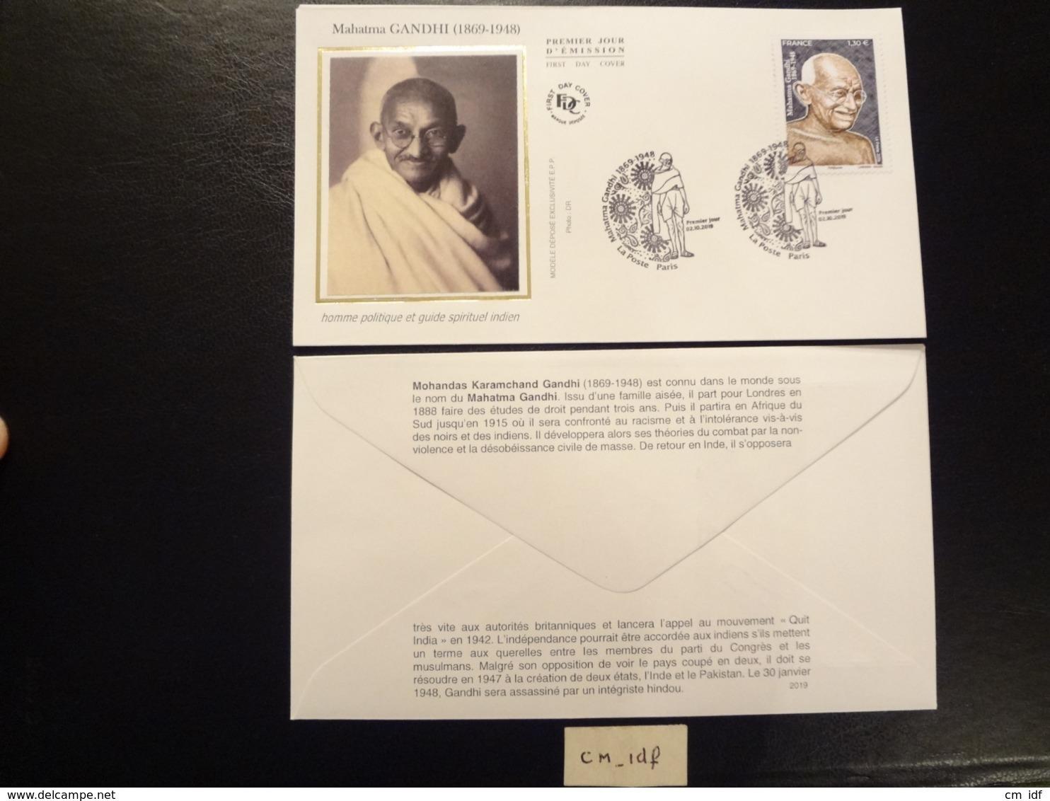 FRANCE 2019 1,30 MAHATMA GANDHI 1869 - 1948 , OBLITERATION PREMIER JOUR 02.10.2019 ENVELOPPE F.D.C. - FDC