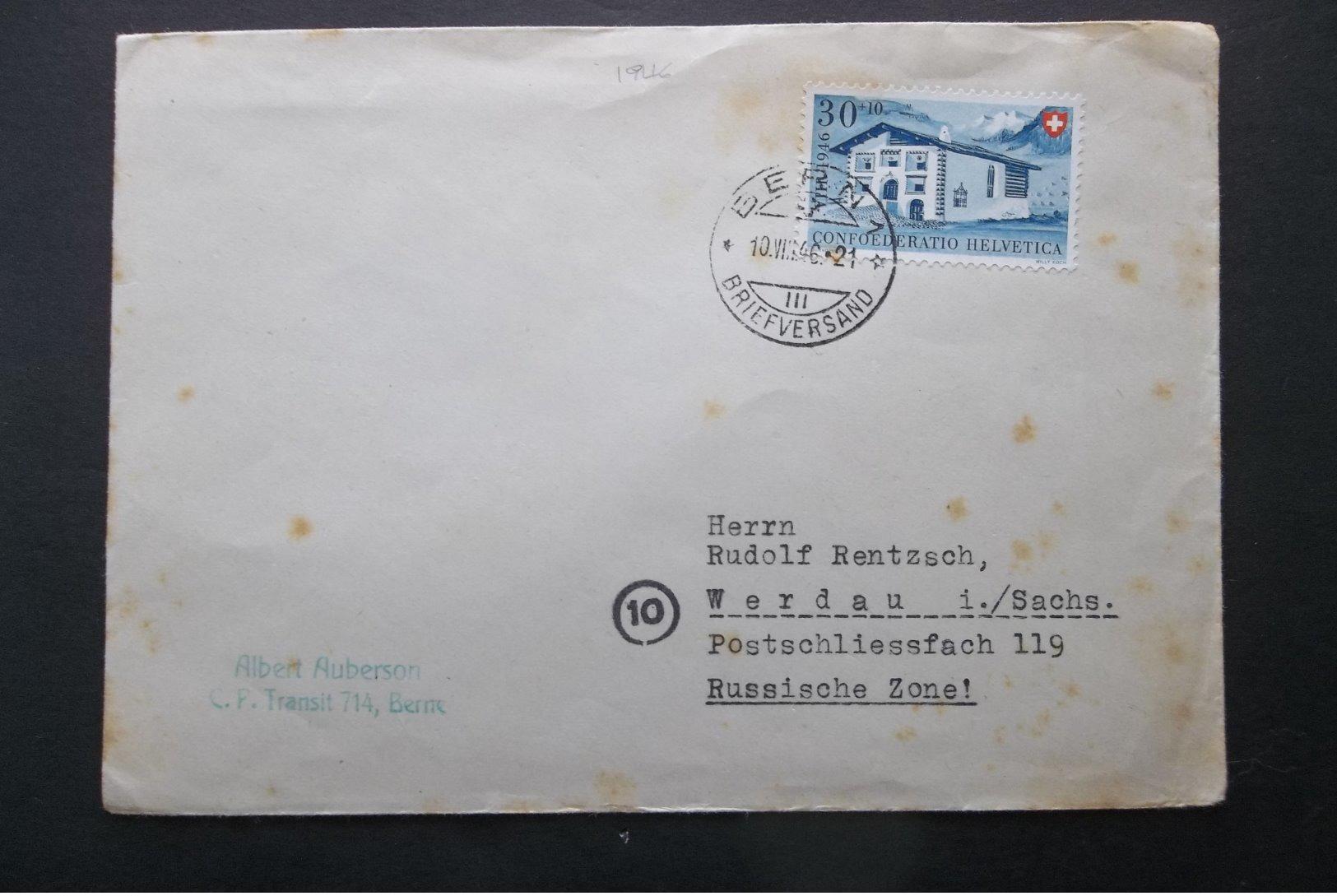Helvetia: 1946 Cover To Verdau/Sachs. (#BU5) - Lettres & Documents