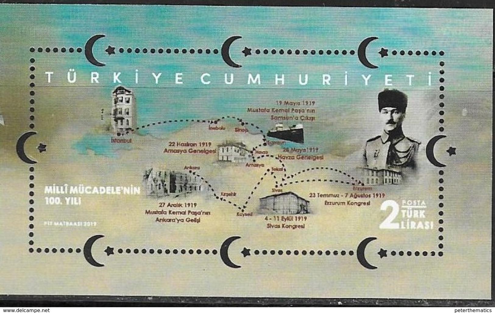 TURKEY, 2019, MNH, CENTENARY OF NATIONAL STRUGGLE, MAPS, SHIPS,  S/SHEET - History