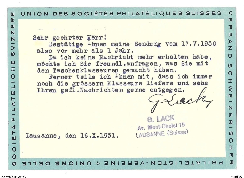 """Schweiz Suisse 1951: Kehrdruck Tête-bêche Zu+Mi K32 Auf Karte """"Tag Der Briefmarke 1945"""" Mit O LAUSANNE 16.X.51 - Kehrdrucke"""
