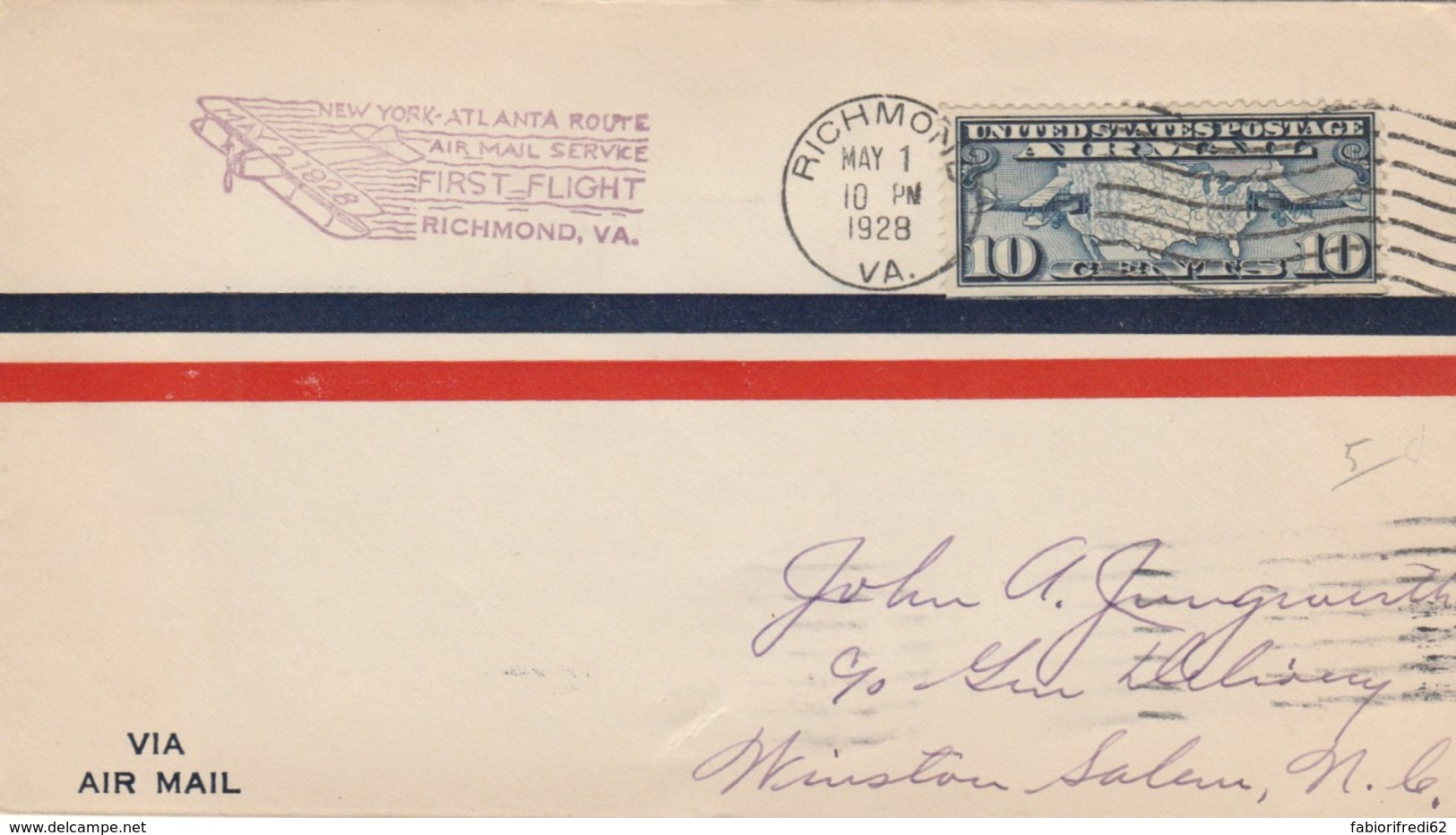 LETTERA 1928 USA RICHMOND WINSTON SALEM (VX568 - Storia Postale