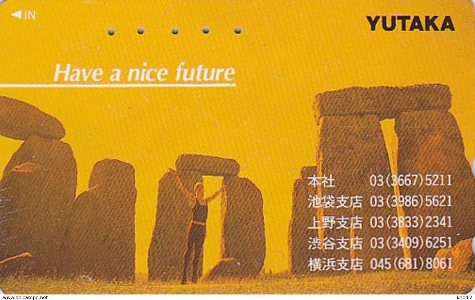Télécarte Japon / 110-011 - Archéologie Préhistoire Menhir - Site STONEHENGE / England Rel Japan Phonecard - 42 - Paysages