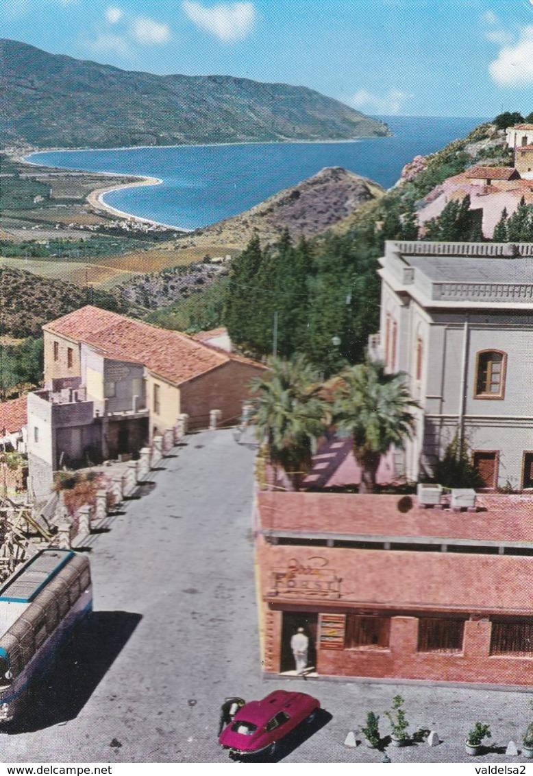 TINDARI - MESSINA - PANORAMA DAL SANTUARIO - LOCALE CON INSEGNA PUBBLICITARIA BIRRA FORST - AUTO PORSCHE - 1971 - Messina