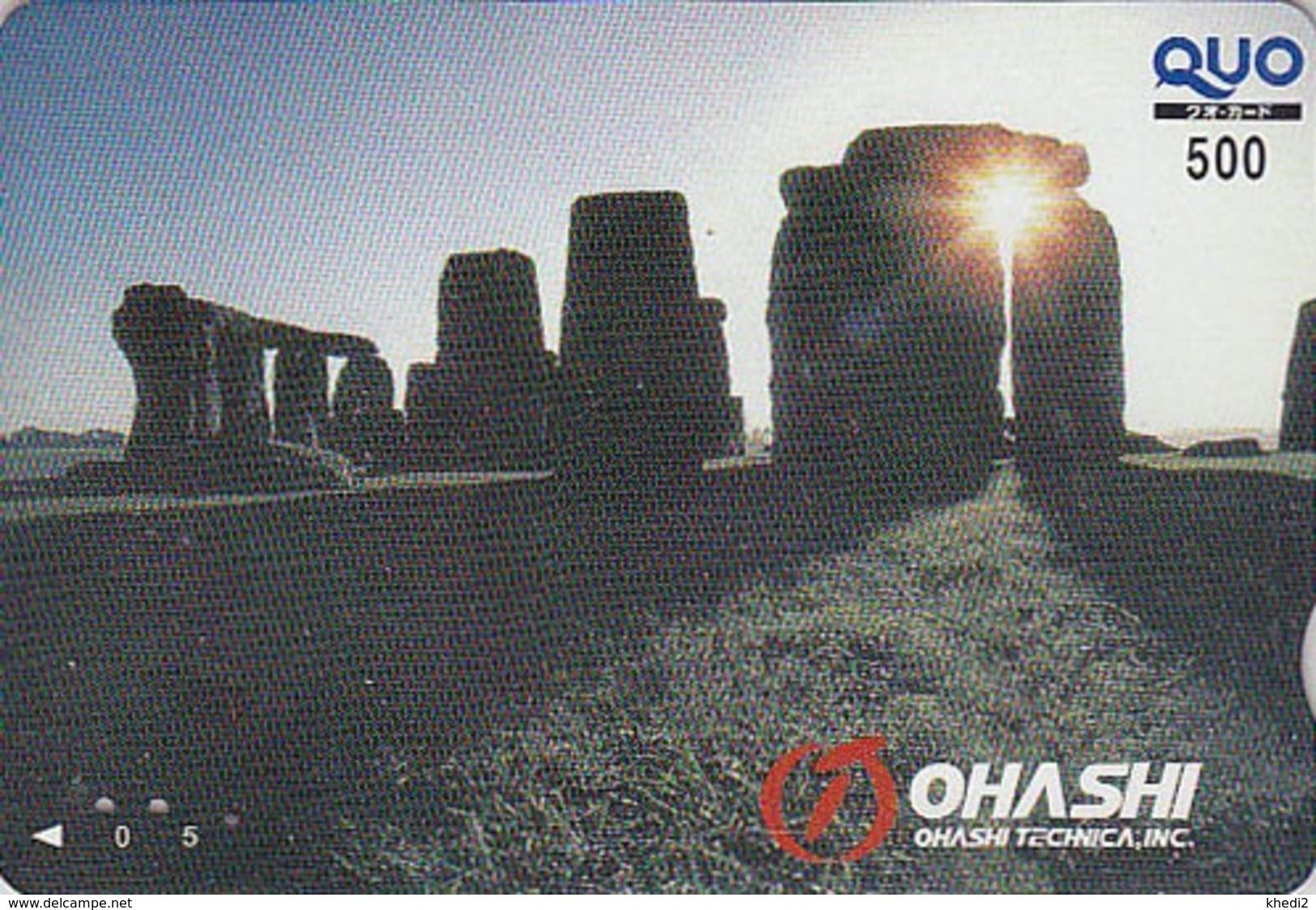 Carte Prépayée Japon - Archéologie Préhistoire Menhir - Site STONEHENGE England Rel. Japan Prepaid QUO Card  - 52 - Paysages