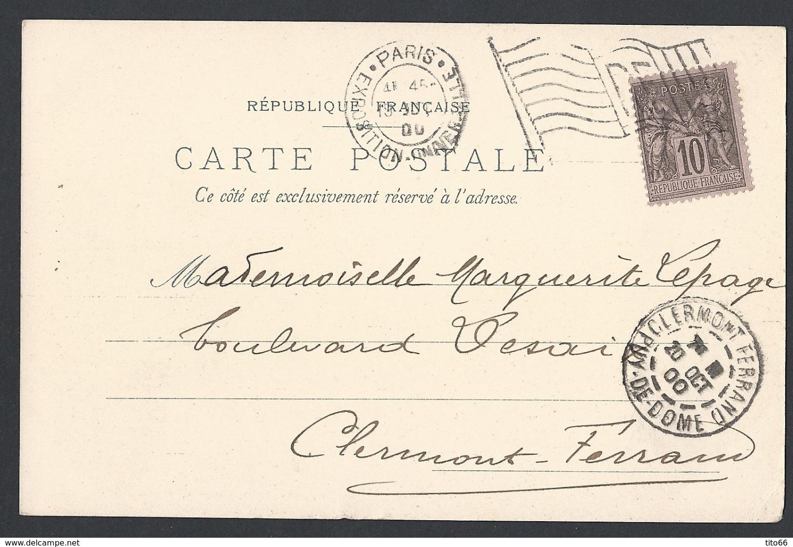 CP Pavillon Vins De Champagne Sage Y/T 103 TAD Expo Universelle Avec Drapeau 19/10/1900 Vers Clermont-ferrand - 1877-1920: Période Semi Moderne