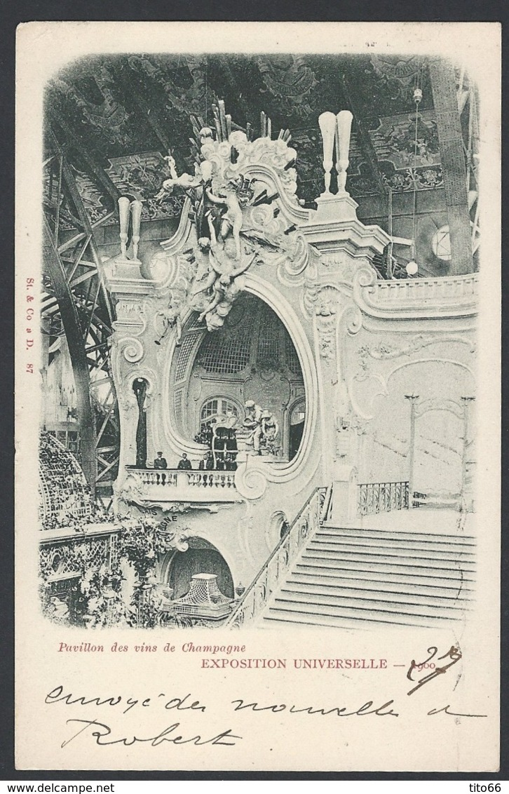 CP Pavillon Vins De Champagne Sage Y/T 103 TAD Expo Universelle Avec Drapeau 19/10/1900 Vers Clermont-ferrand - Marcophilie (Lettres)