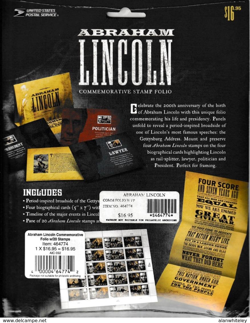 UNITED STATES 2009 Abraham Lincoln: Commemorative Pack UM/MNH - Cartoline Ricordo