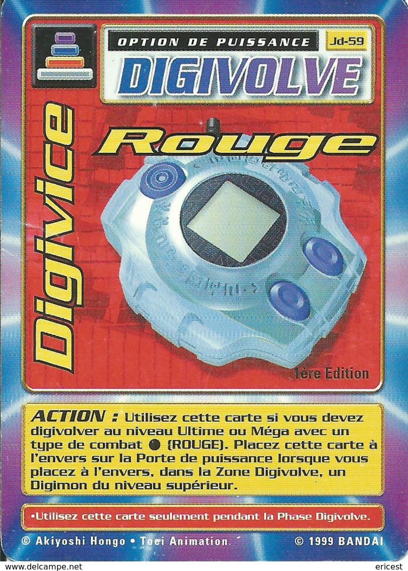 B - CARTE DIGIMON DIGIVOLVE DIGIVICE ROUGE 1ERE EDITION JD-59 FR ETAT COURANT - Trading Cards