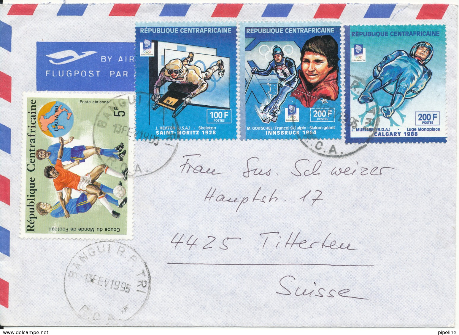 Central African Republic Air Mail Cover Sent To Switzerland 13-2-1995 Topic Stamps (Sport) - Centrafricaine (République)