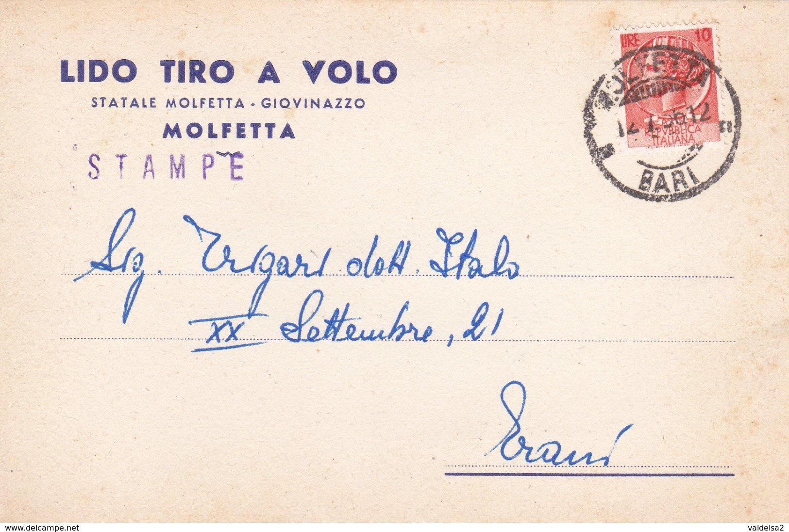 MOLFETTA - BARI - LIDO TIRO A VOLO - SERATE DANZANTI - STATALE MOLFETTA / GIOVINAZZO - 1956 - Molfetta