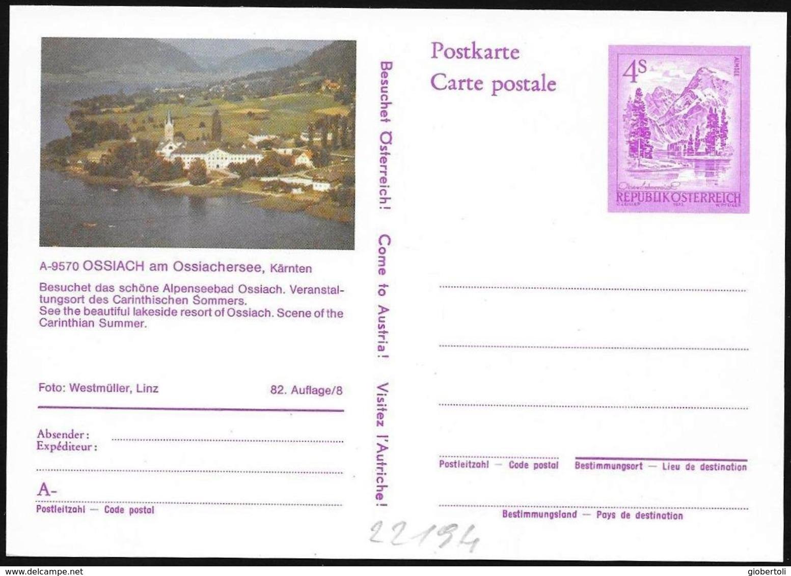 Austria/Autriche: Intero Stationery, Entier, Lago Ossiach, Lake Ossiach - Geografia