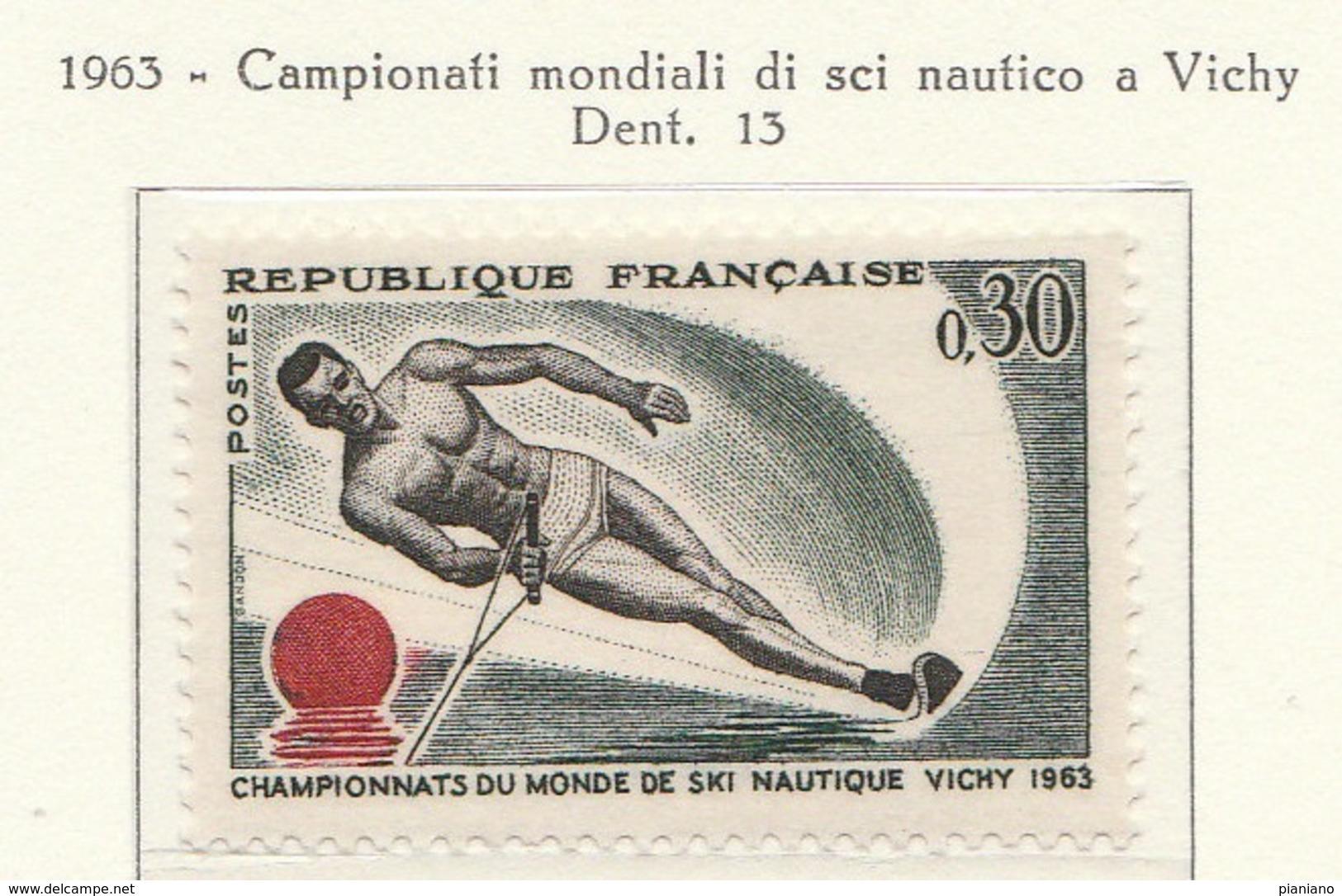 PIA  - FRANCIA  -  1963  :  Campionato Del Mondo Di Sci Nautico A Vichy  - (Yv  1395) - Wasserski