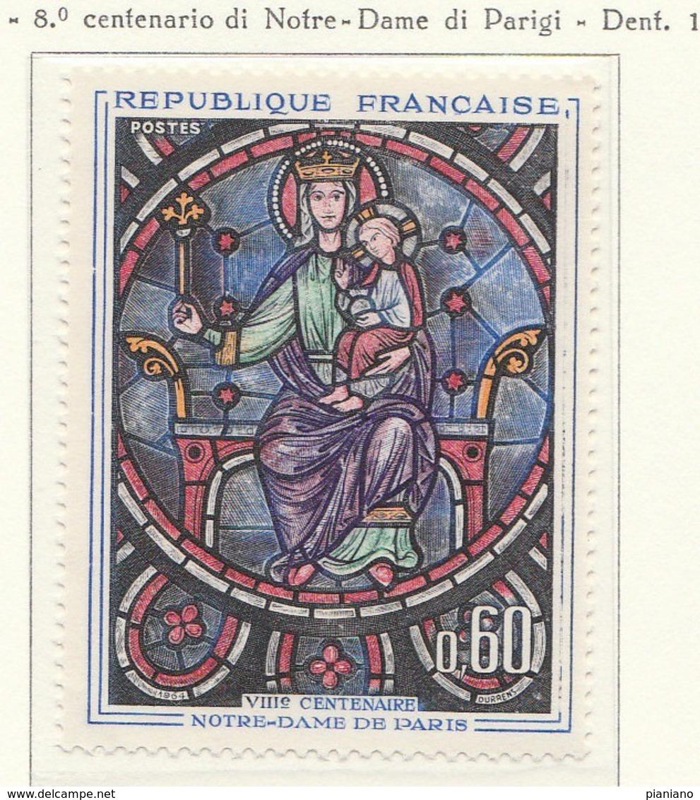 PIA  - FRANCIA  -1964 : 8° Centenario Della Cattedrale Di Notre-Dame- Vetrata Ovest  - (Yv  1419) - Vetri & Vetrate