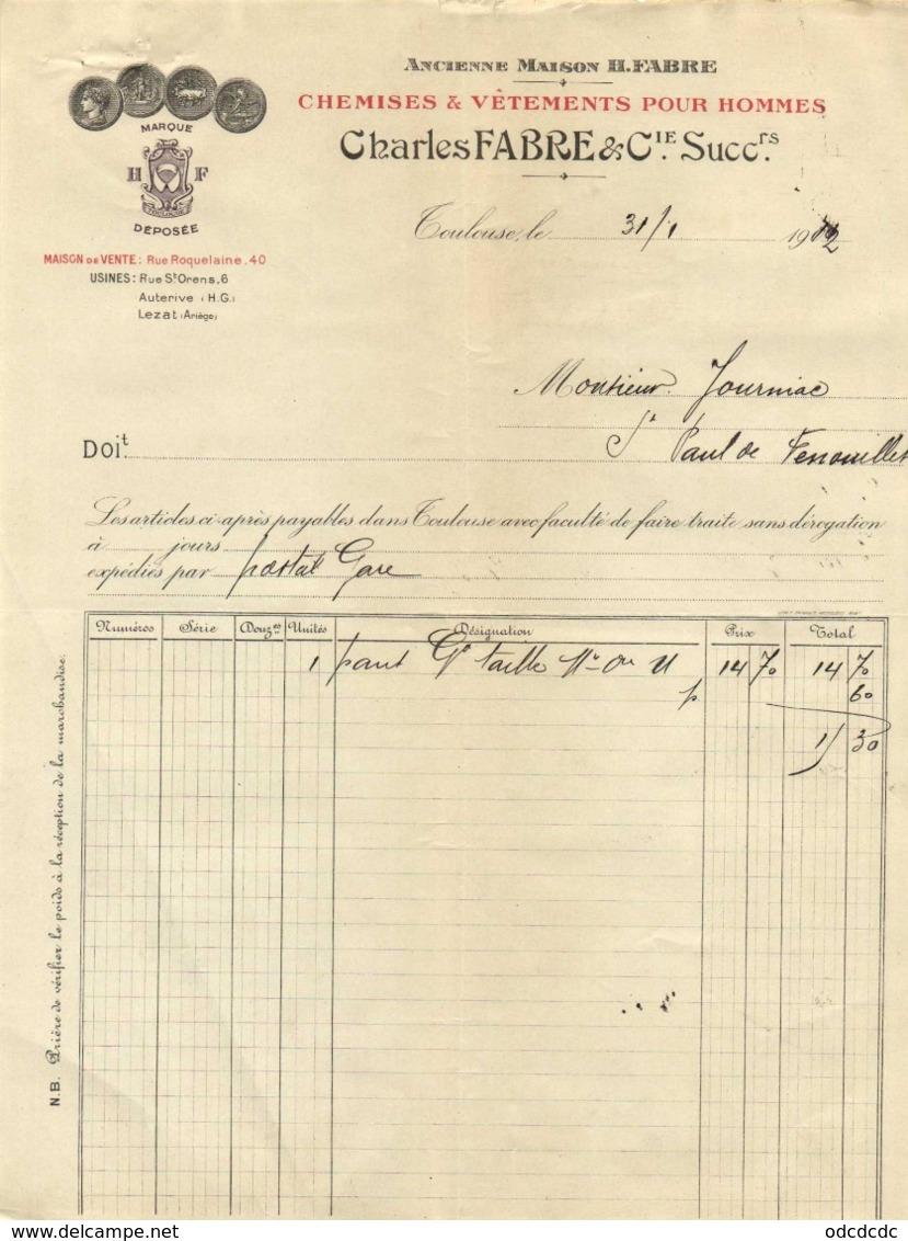 Chemises & Vetements Pour Hommes Charles FABRE & Cie Maison De Vente Rue Roquelaine Toulouse 31 1 1912 - Textile & Vestimentaire