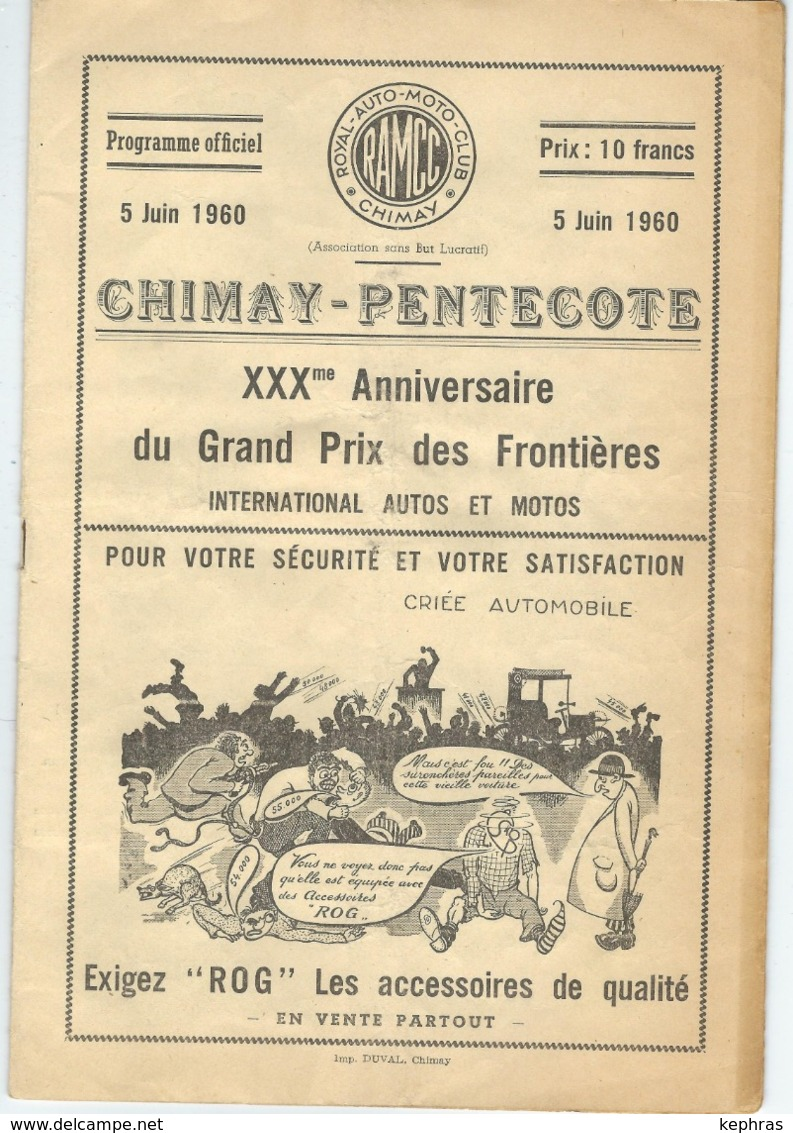 CHIMAY - 1960 - Programme 30ème Grand Prix Des Frontières - Programmes