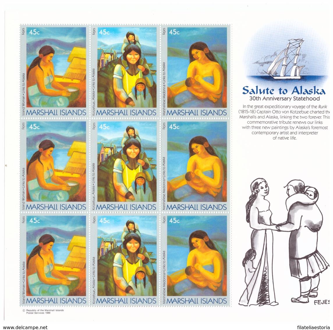 Îles Marshall 1989 - MNH** - Peinture - Feuillet Michel Nr. 209-211 3 X Séries Complètes (mhl267) - Marshall