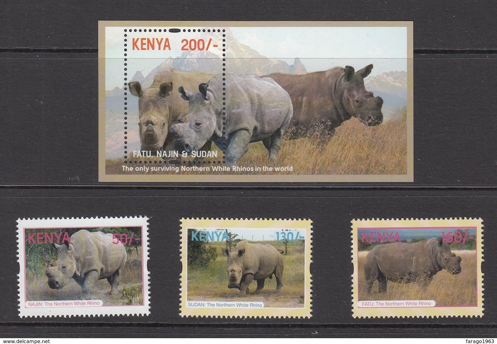 2018 Kenya NEW ISSUE 10.5.18 Northern White Rhino Complete Set Of 3 + Souvenir Sheet MNH - Kenya (1963-...)