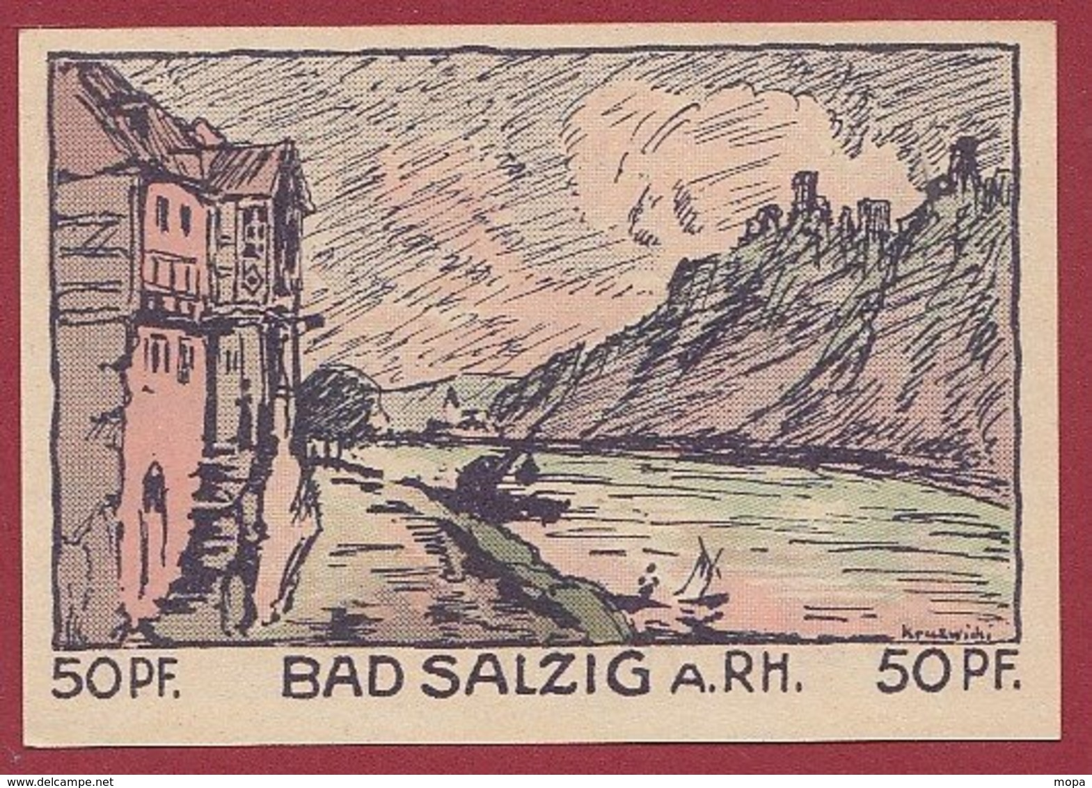 Allemagne 1 Notgeld De 50 Pfenning Stadt Salzig/A/Rhein   Dans L 'état N °4812 - Collections