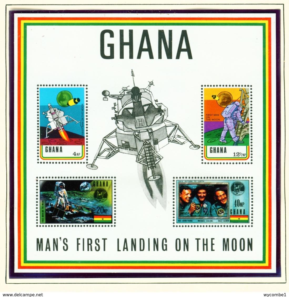 GHANA  -  1970 Moon Landing Miniature Sheet Imperf With Printed Perfs Unmounted/Never Hinged Mint - Ghana (1957-...)