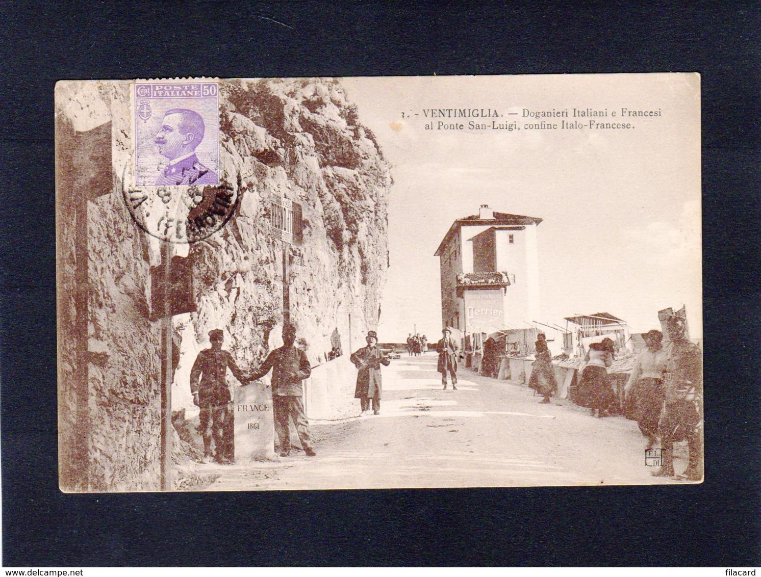 88101     Italia,  Ventimiglia,  Doganieri  Italiani E  Francesi Al  Ponte San-Luigi,  Confine Italo-Francese,  VG  1918 - Imperia