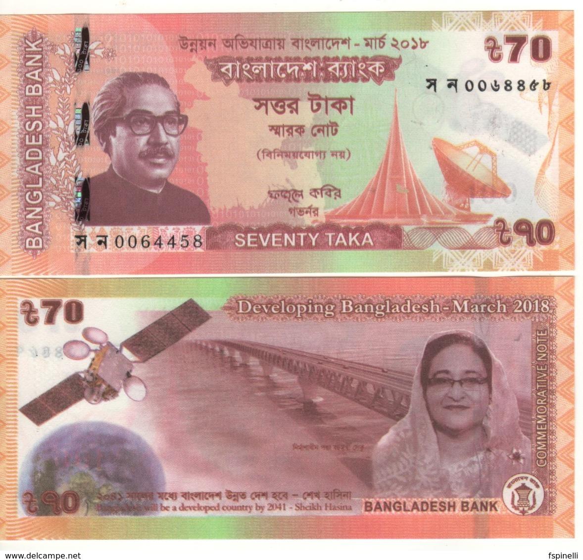 "BANGLADESH   70  Taka  ""Commemorative Issue""  P65.  March 2018   UNC - Bangladesh"
