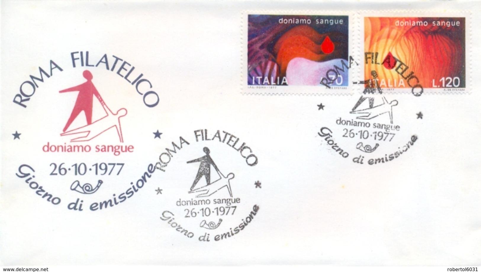 Italia Italy 1977 FDC POSTE ITALIANE Blood Donation Campaign Campagna Per La Donazione Del Sangue - Medicina