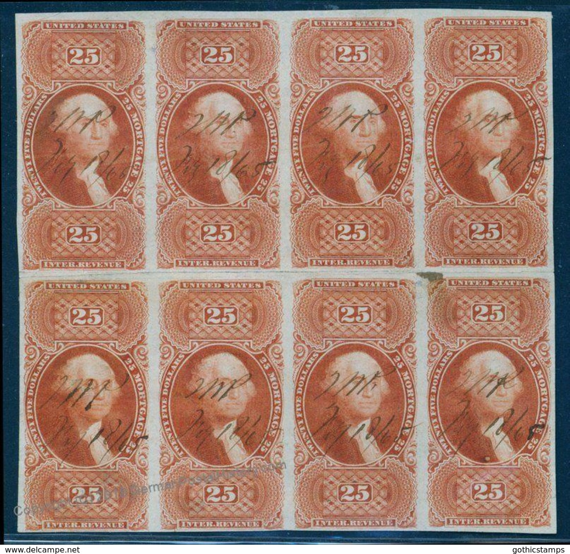 USA $25 Mortgage Imperf R100a Two Blocks Of Four CV EUR28000+ 93231 - Stamps