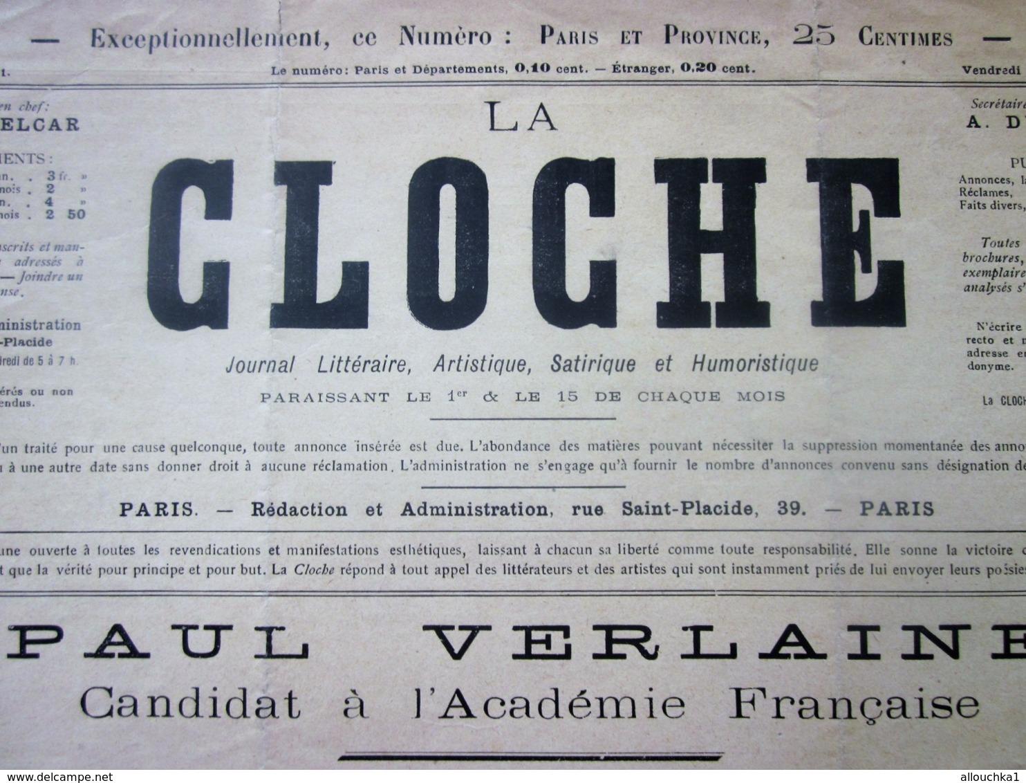 """1ER SEPT 1893  """"LA CLOCHE"""" JOURNAL SATIRIQUE-LITTÉRAIRE-ARTISTIQUE-HUMORISTIQUE- PAUL VERLAINE - Newspapers"""