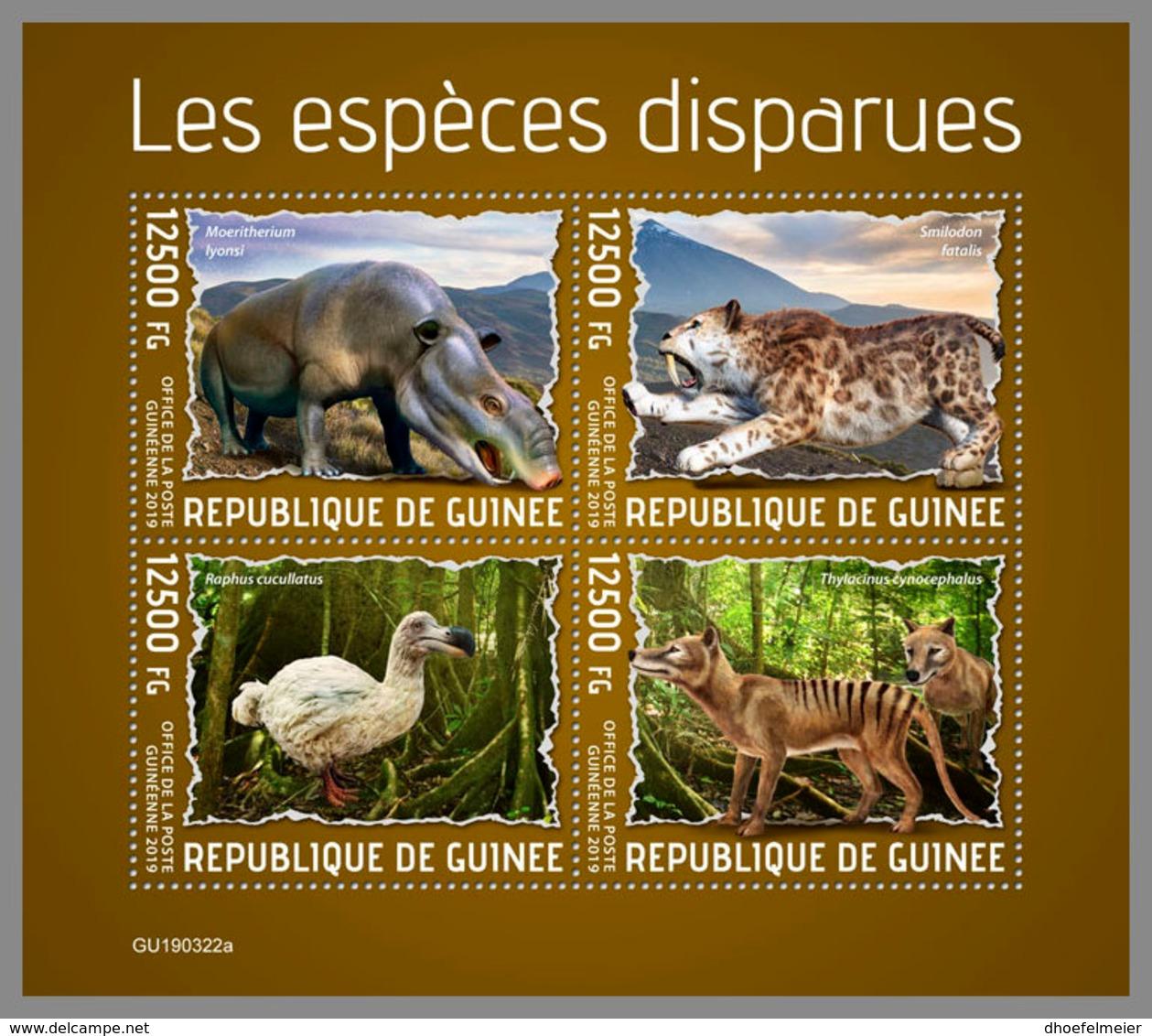 GUINEA REP. 2019 MNH Extinct Species Ausgestorbene Tiere Especes Disparues M/S - OFFICIAL ISSUE - DH1940 - Stamps