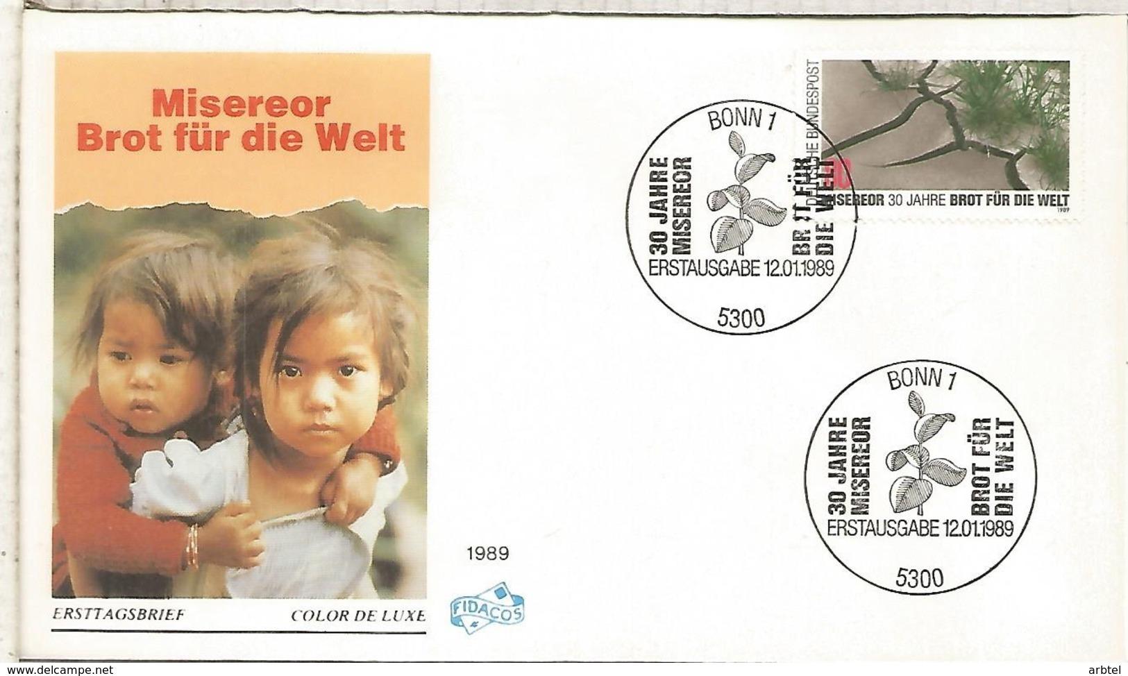 ALEMANIA FDC BONN 1989 ALIMENTACION PAN CONTRA EL HAMBRE - Against Starve