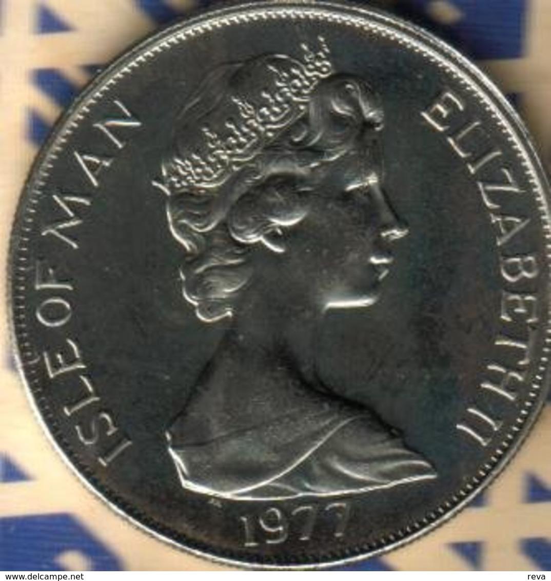 ISLE OF MAN 1 CROWN ROYAL EMBLEMS FRONT QEII HEAD BACK SILVER JUBILEE CORONATION 1977 UNC READ DESCRIPTION CAREFULLY !!! - Regionale Währungen
