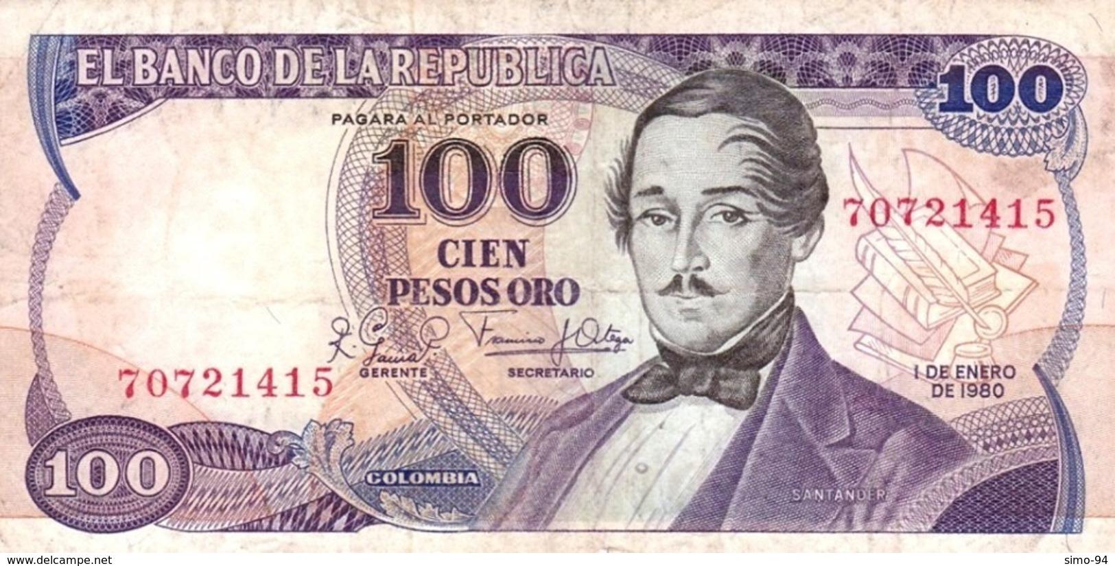 Colombia P.418 100  Peso  1980 Vf- - Colombia