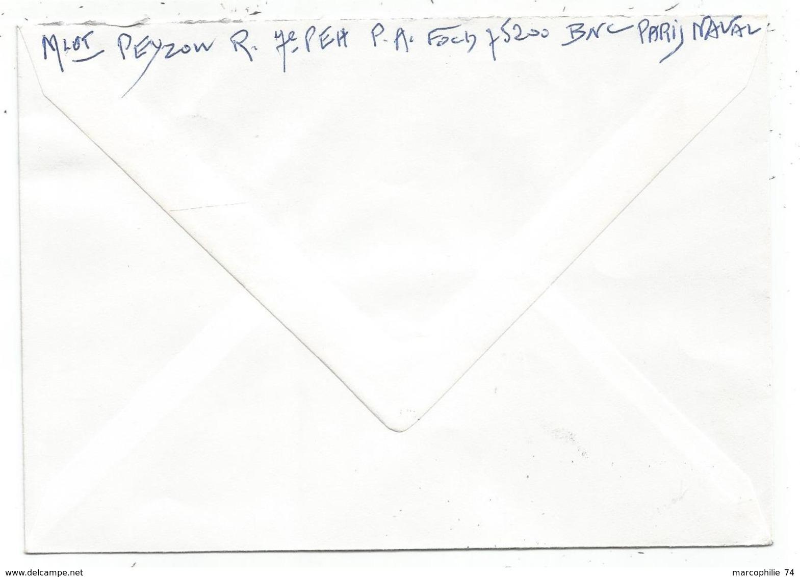 FM DRAPEAU LETTRE PORTE AVIONS FOCH 20.12.1972 + GRIFFE - Marcophilie (Lettres)