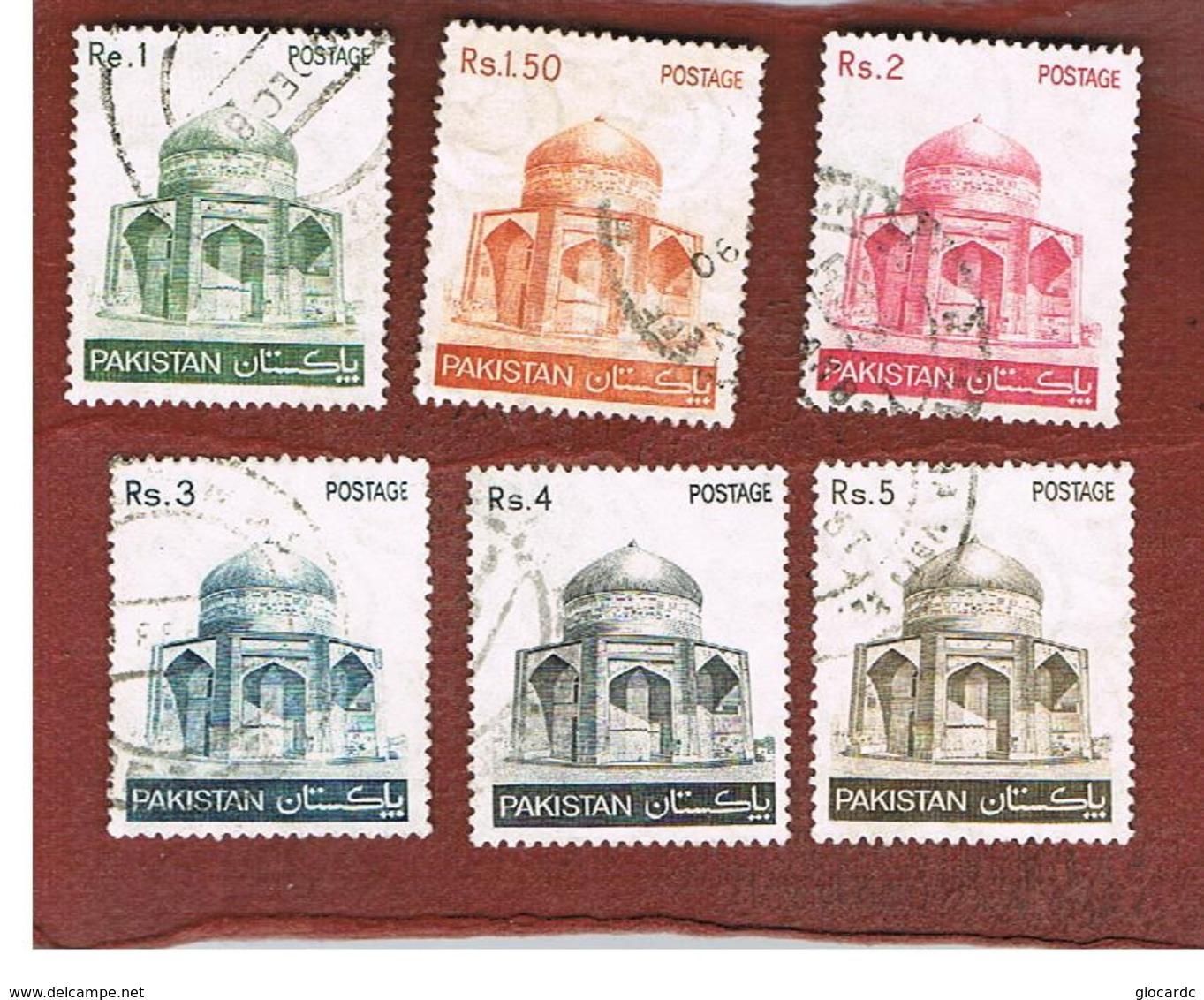 PAKISTAN  -  SG 475.480  -  1979  MAKLI MAUSOLEUM, THATTA (COMPLET SET OF 6)   -  USED ° - Pakistan