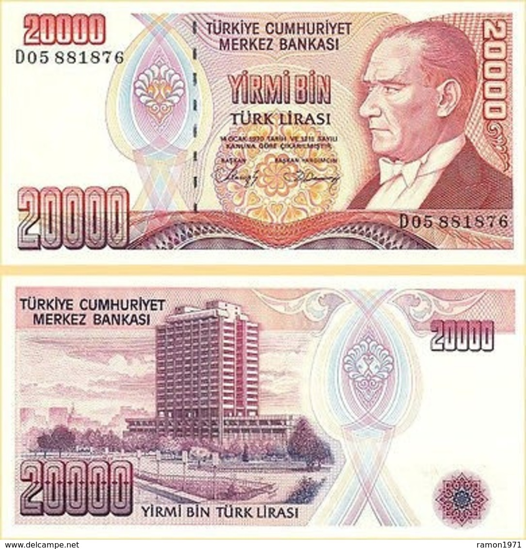10 Pieces Turkey - 20,000 Lear 1988 UNC - Turquie