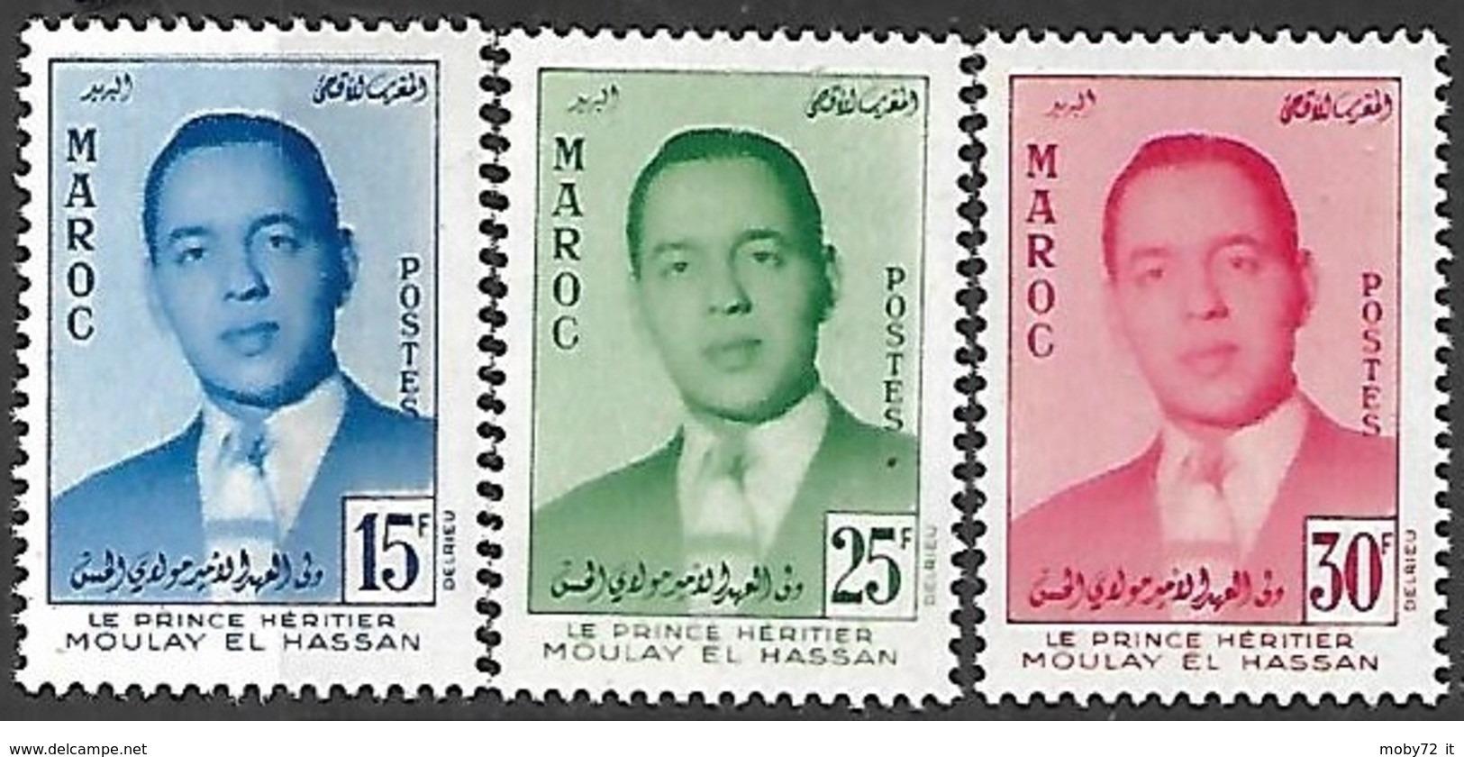 Marocco - 1957 - Nuovo/new MNH - Principe Moulay - Mi N.  426/28 - Marokko (1956-...)