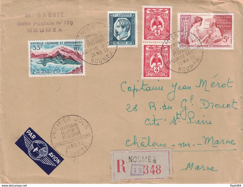 NOUVELLE CALEDONIE - LETTRE RECOMMANDEE DE NOUMEA POUR LA FRANCE - 20 MAI 1960 - CENTENAIRE DU TIMBRE EN Nlle CALEDONIE - Nueva Caledonia