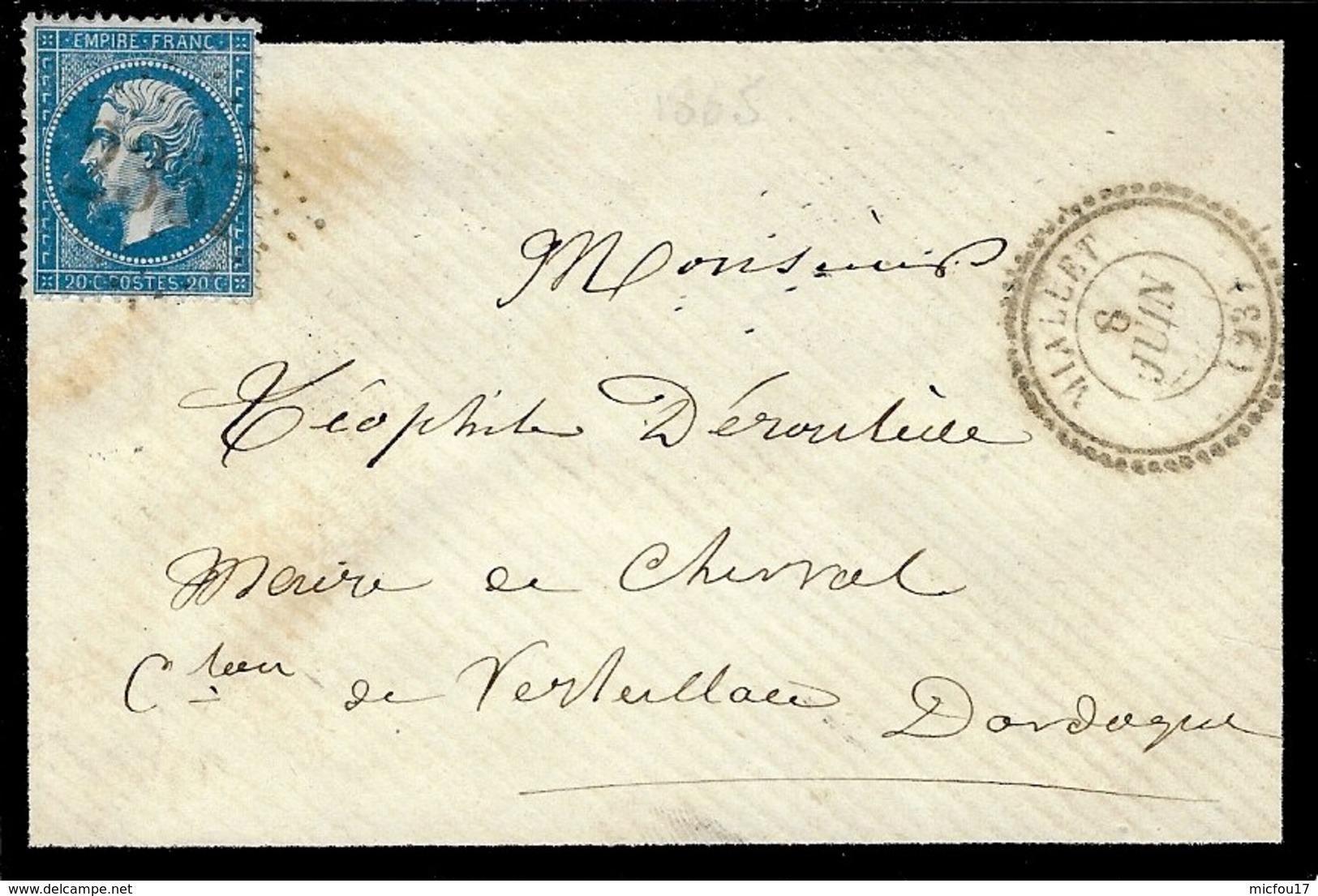 1865- Enveloppe De MIALLET ( Dordogne ) Cad T22 Affr. N°22  Oblit. G C 2357 - Postmark Collection (Covers)