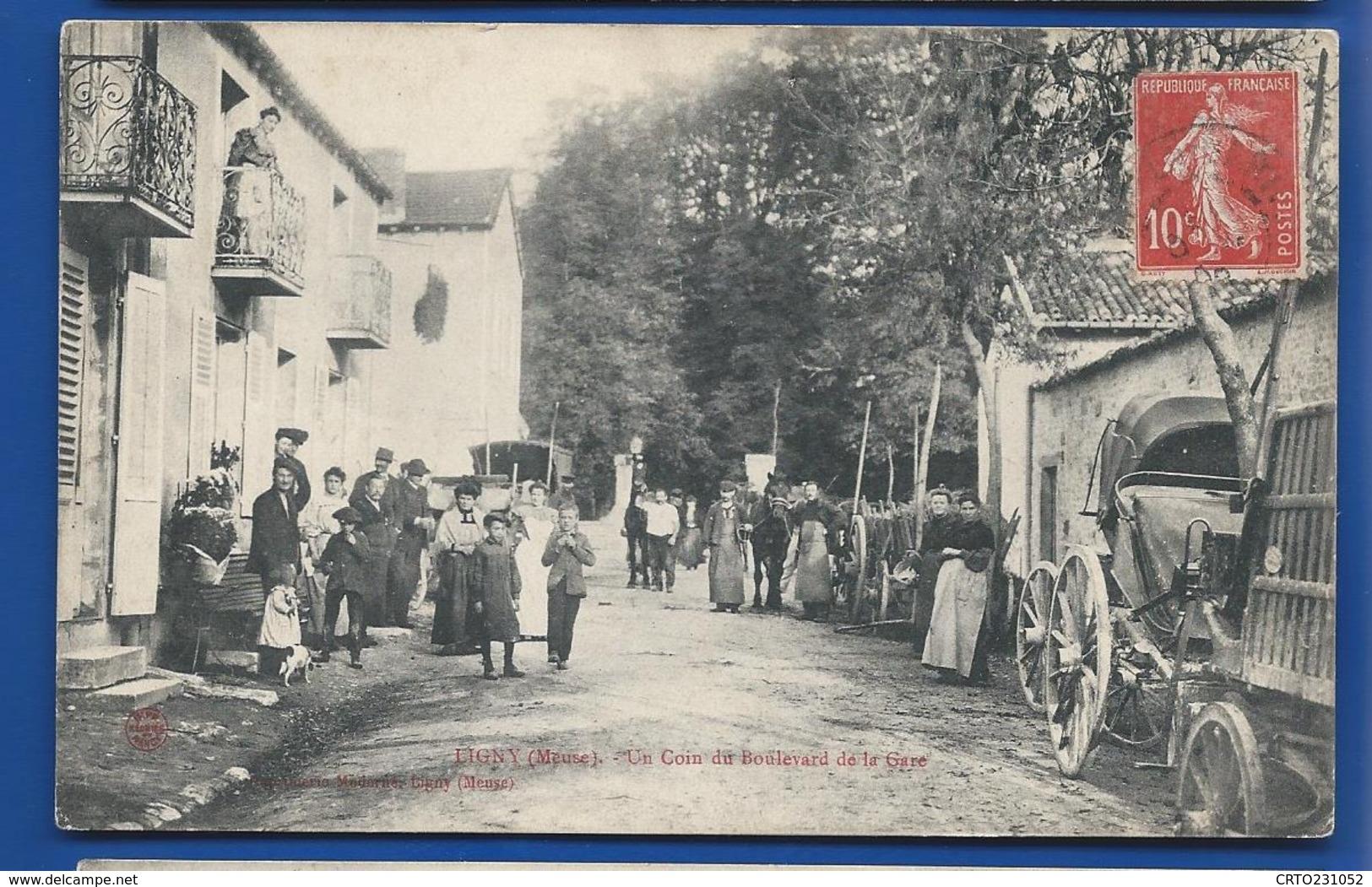 LIGNY     Un Coin Du Boulevard De La Gare     Animées    écrite En 1908 - Frankreich