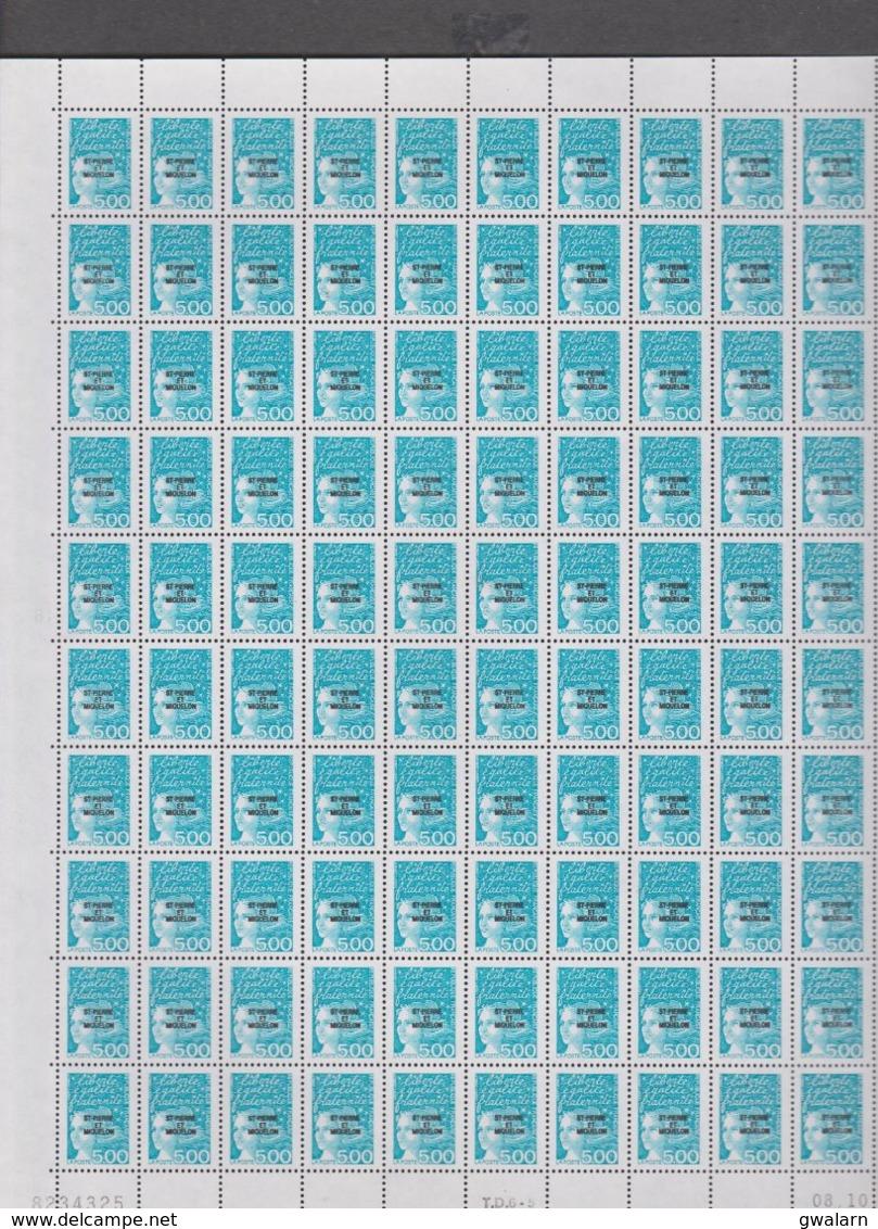 SAINT PIERRE ET MIQUELON 1 Feuille 100 T N°YT 667 MARIANNE DE LUQUET Date 09.10.97 (vendu Sous Valeur Faciale 76 E)) - St.Pedro Y Miquelon