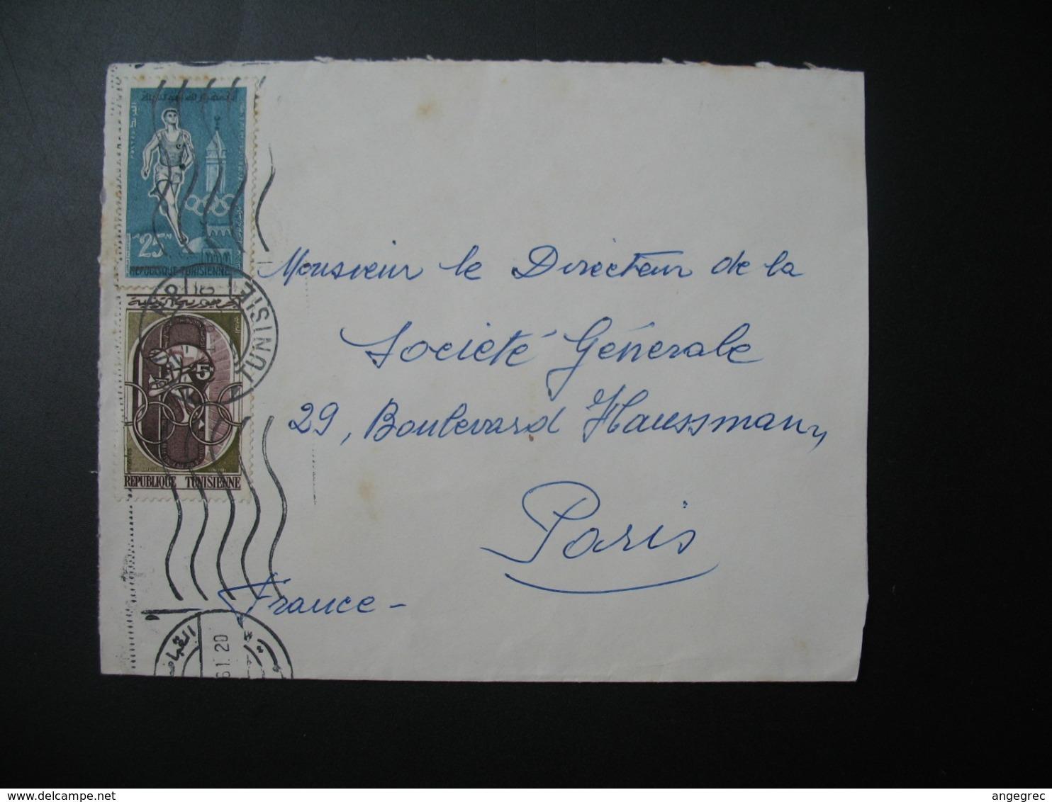 Lettre Thème Sportif  Course Tunisie    Pour La Sté Générale En France   Bd Haussmann   Paris - Tunisia (1956-...)